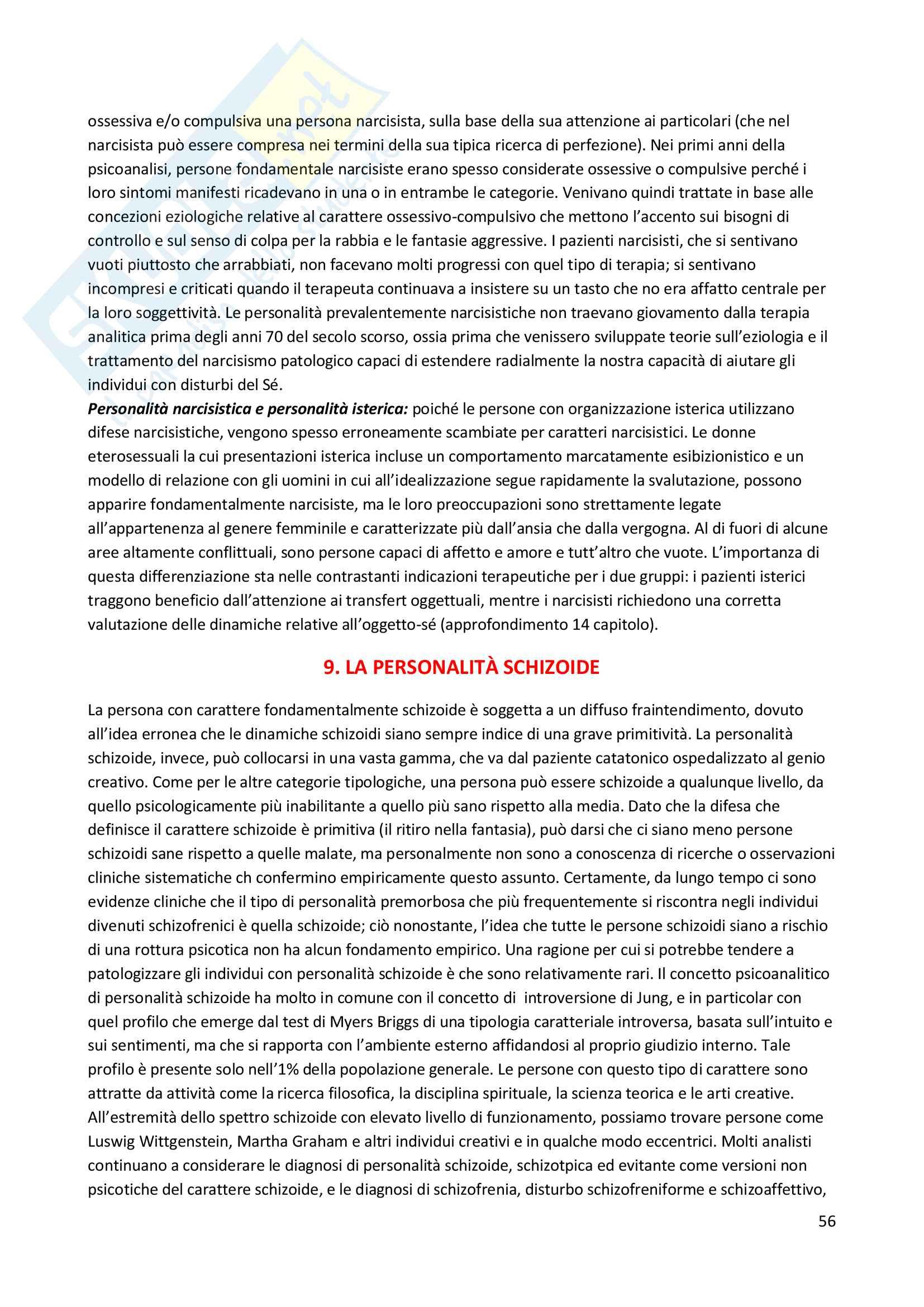 Riassunto esame Psicodiagnostica e psicopatologia, prof. La Grutta, libro consigliato La diagnosi psicoanalitica, N. Mc Williams Pag. 56