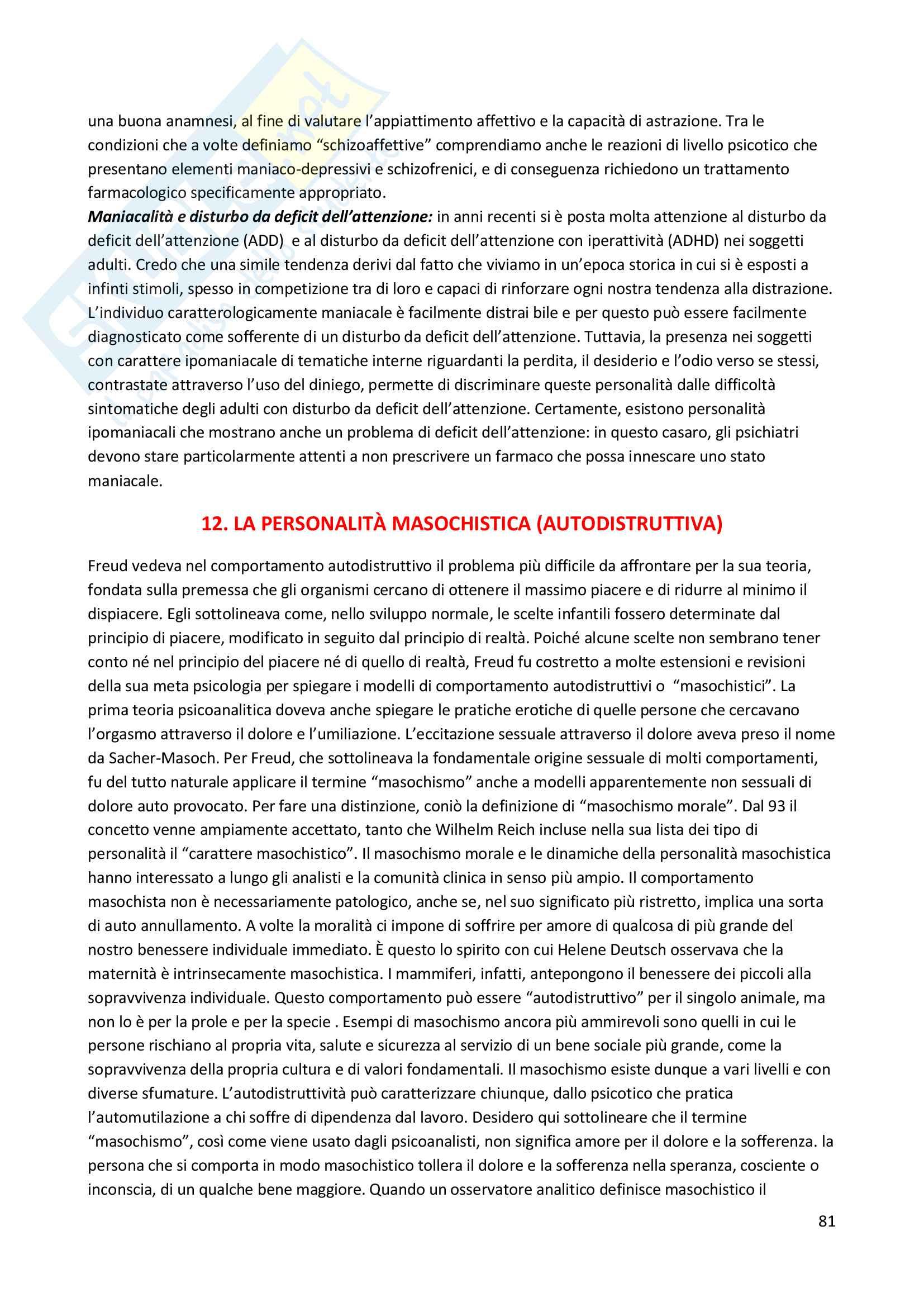 Riassunto esame Psicodiagnostica e psicopatologia, prof. La Grutta, libro consigliato La diagnosi psicoanalitica, N. Mc Williams Pag. 81