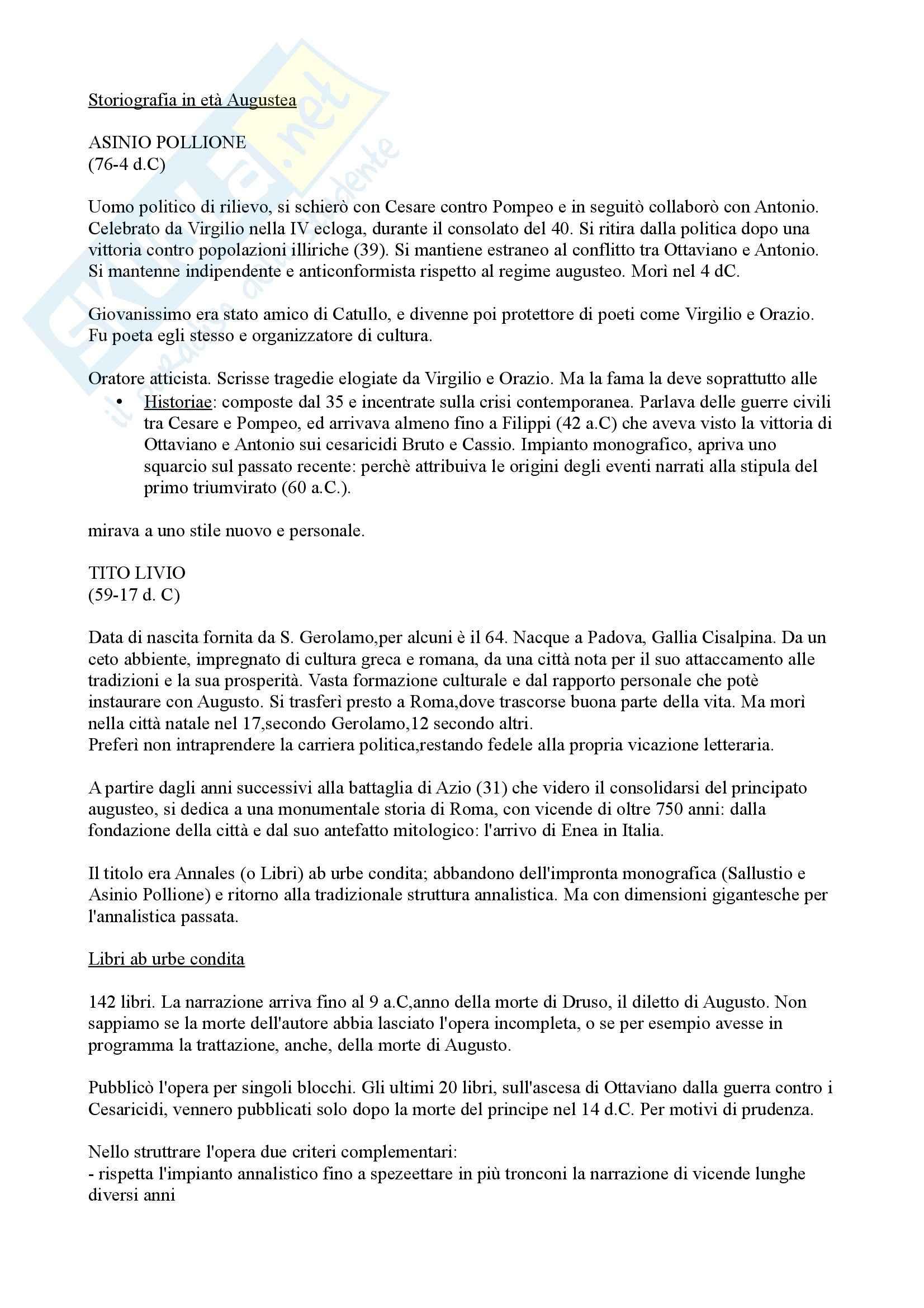 Letteratura latina - Storiografia in età augustea