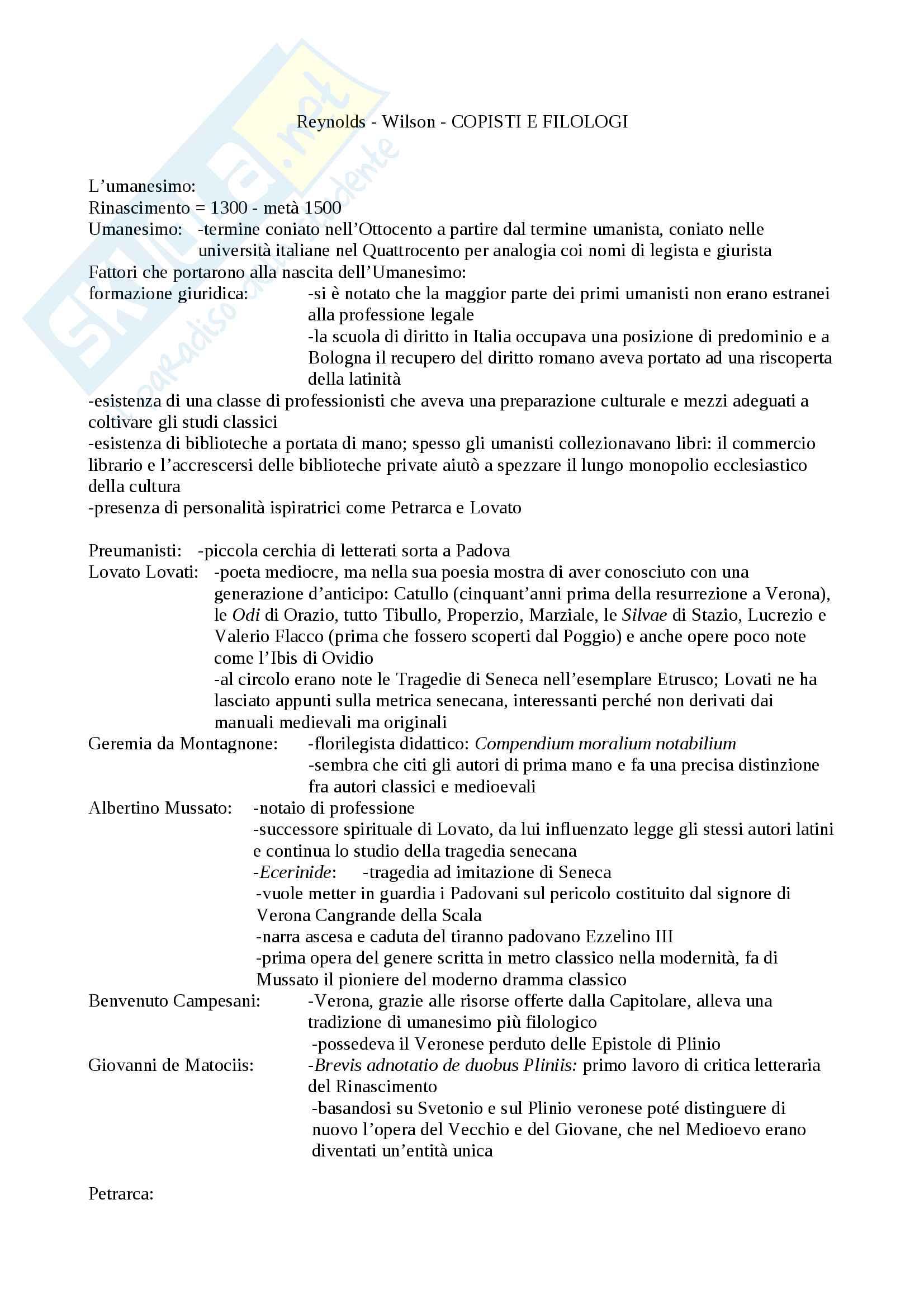 Riassunto esame Filologia, prof. Albanese, libro consigliato Copisti e filologi, Reynolds, Wilson