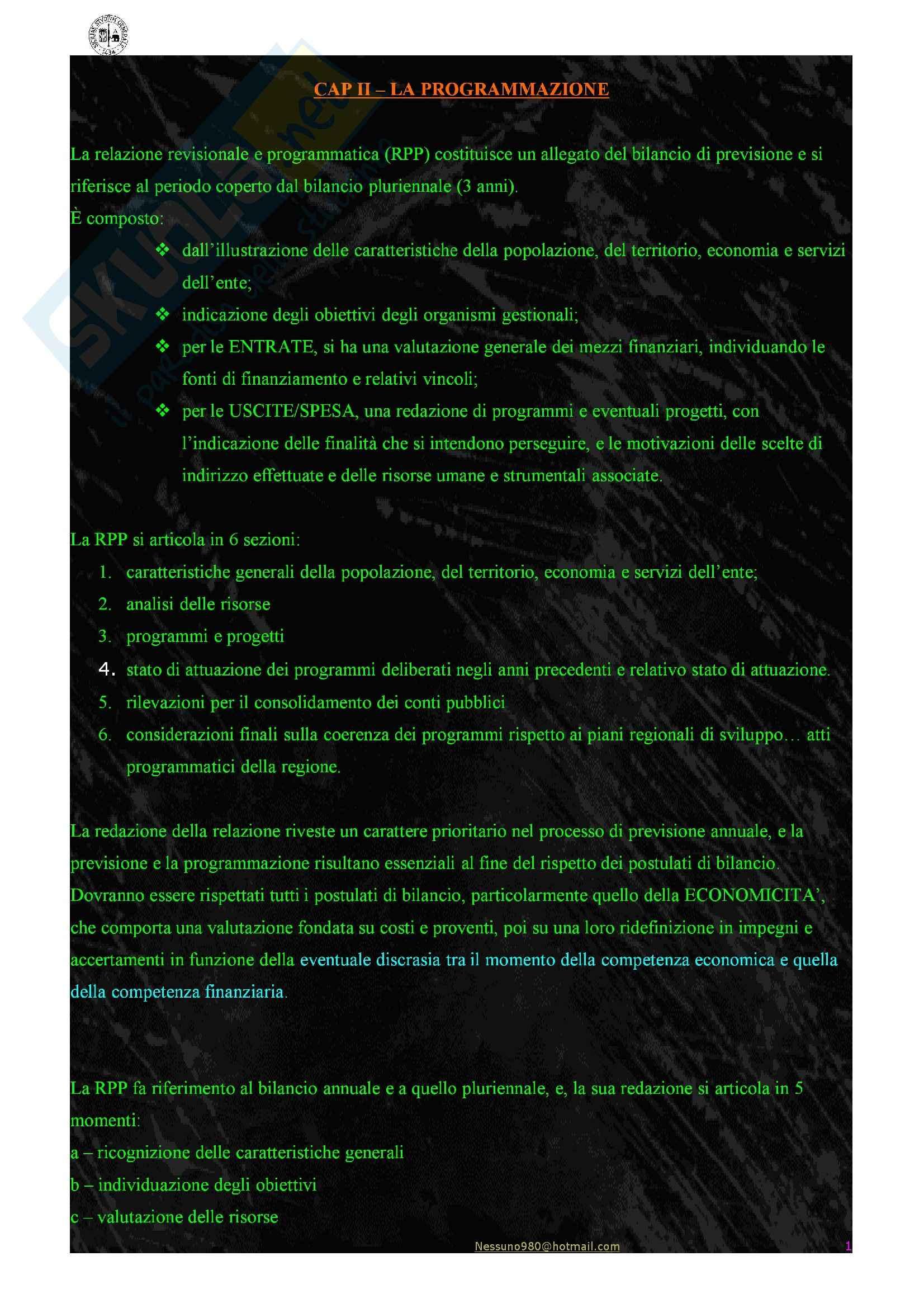 Riassunto esame Economia delle Aziende e pa, prof. Arena, libro consigliato Gestione e Contabilità dell'Ente Locale, Farneti