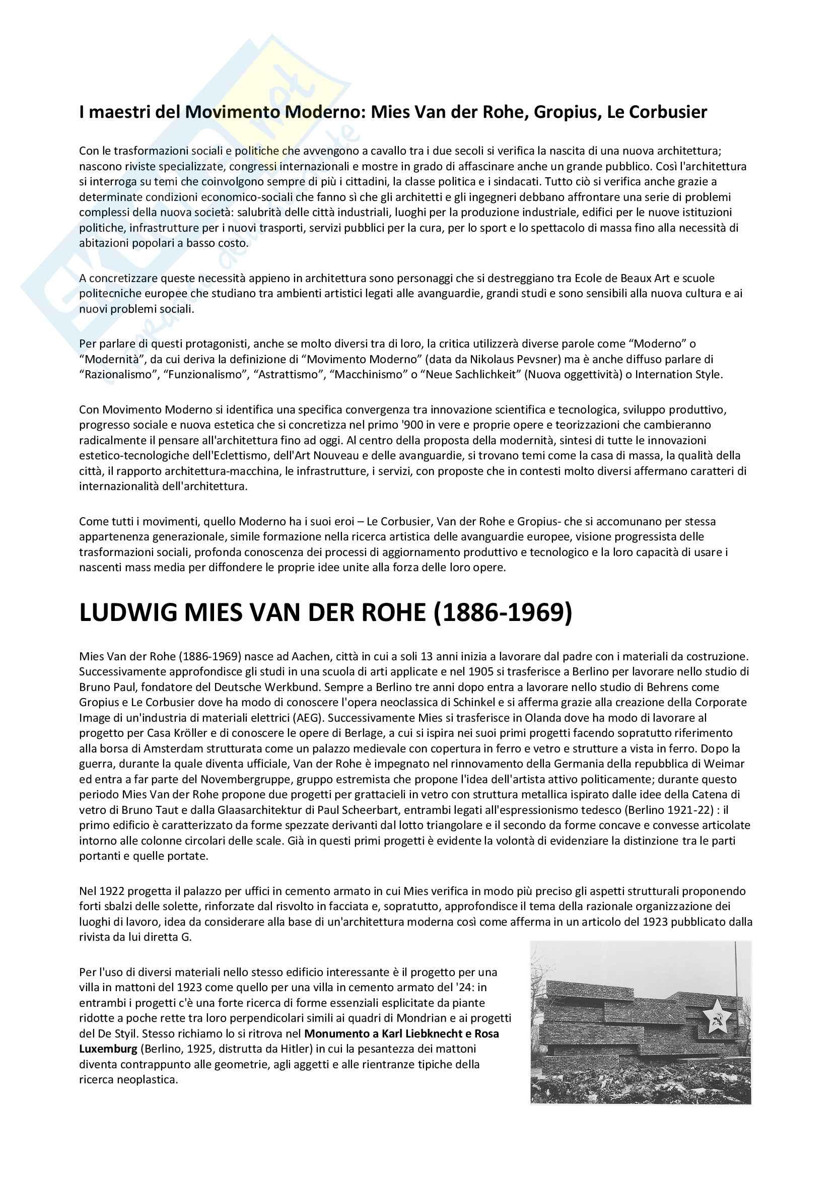 I maestri del Movimento Moderno: Le Corbusier, Van Der Rohe, Gropius