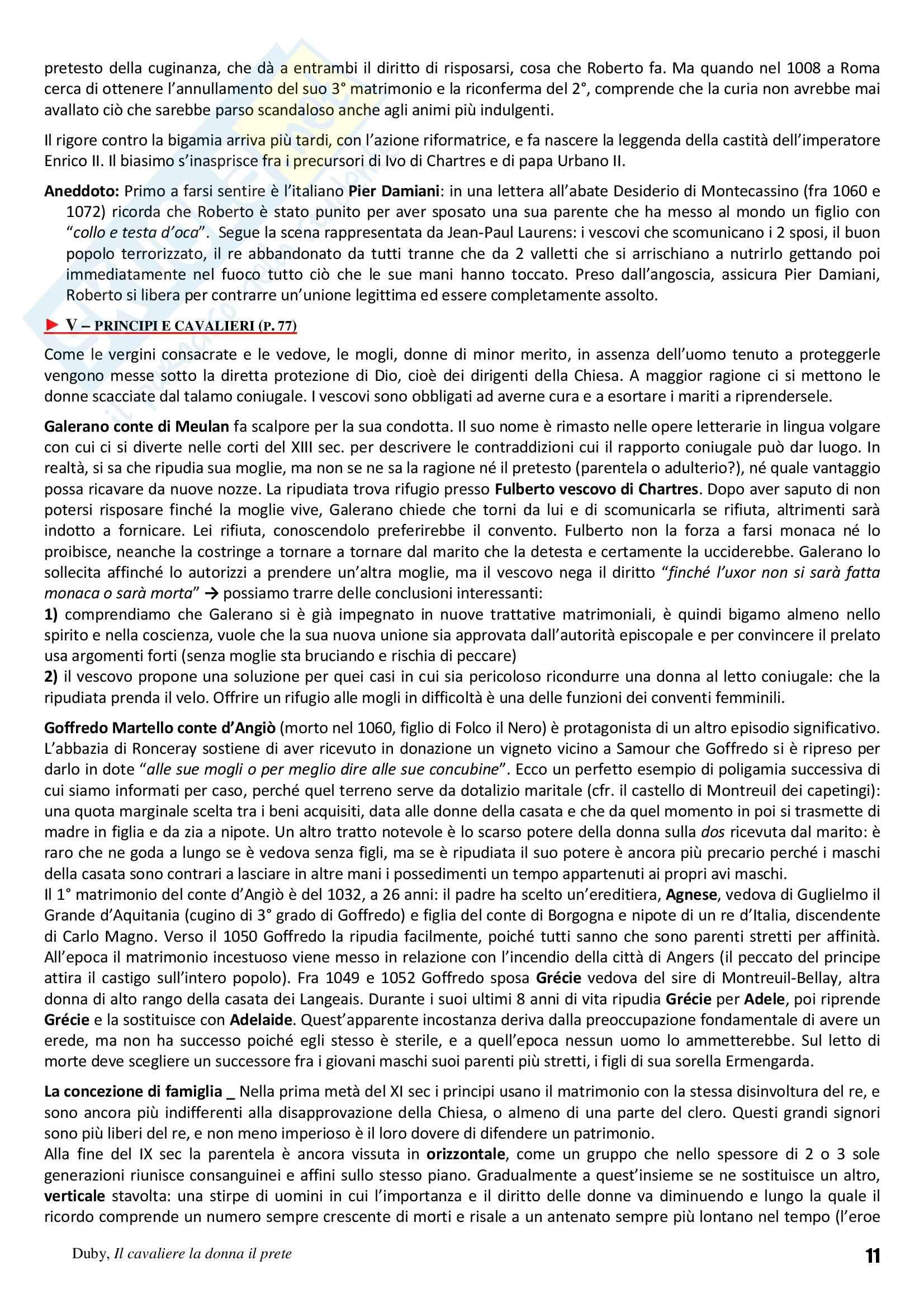 Riassunto esame Storia Medievale, prof. Vallerani, libro consigliato Il cavaliere la donna il prete. Il matrimonio nella Francia feudale, Duby Pag. 11