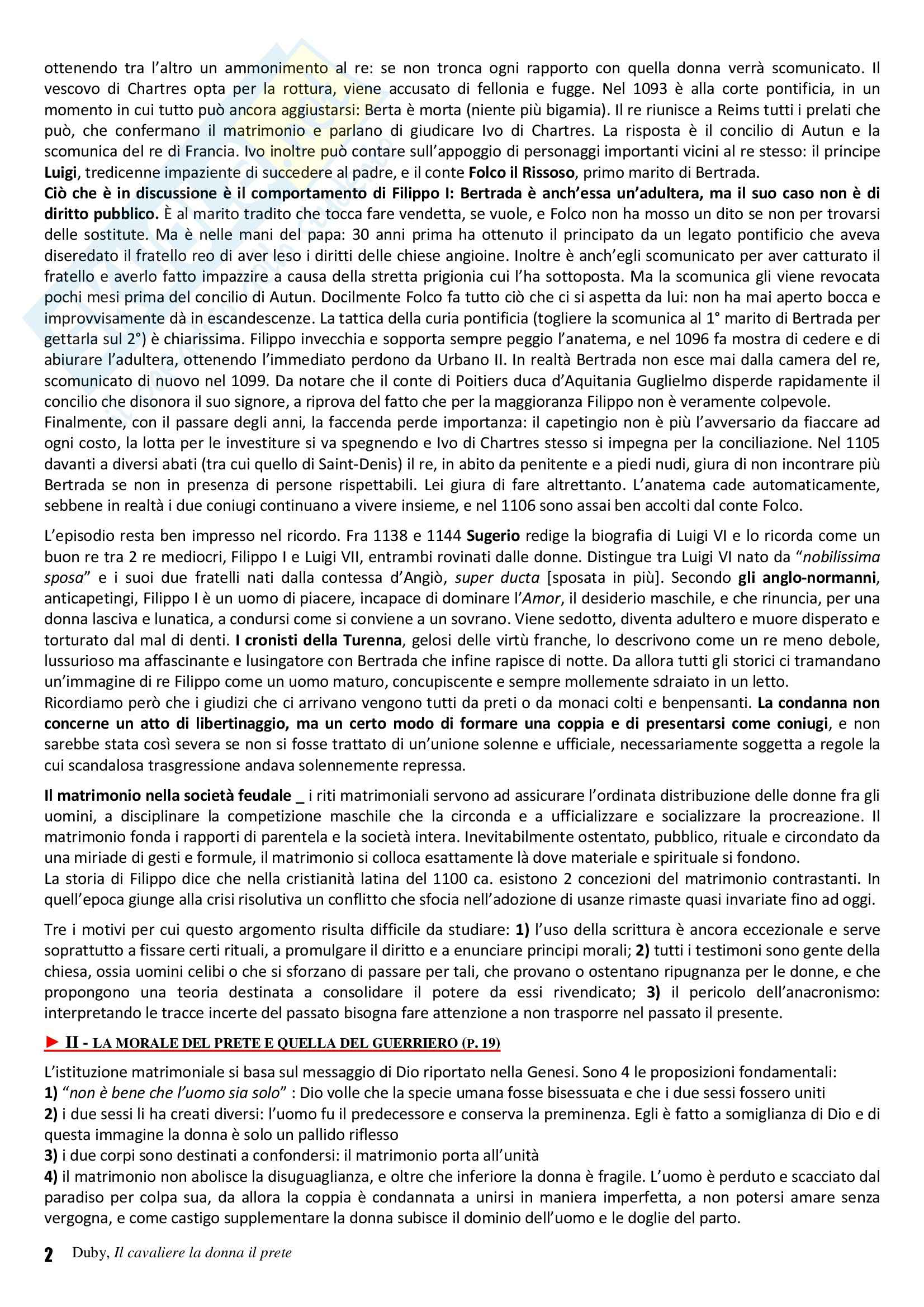 Riassunto esame Storia Medievale, prof. Vallerani, libro consigliato Il cavaliere la donna il prete. Il matrimonio nella Francia feudale, Duby Pag. 2