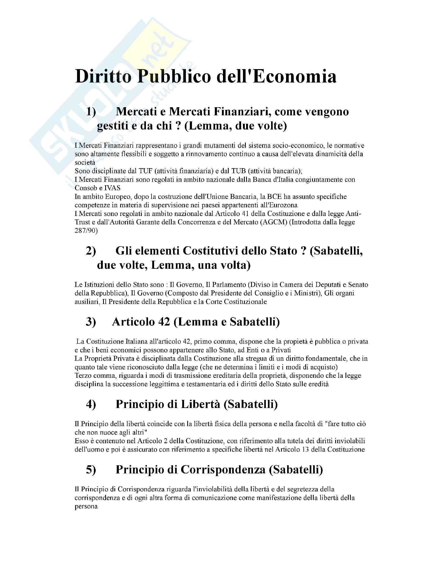 50 Domande Esame Diritto Pubblico dell'Economia