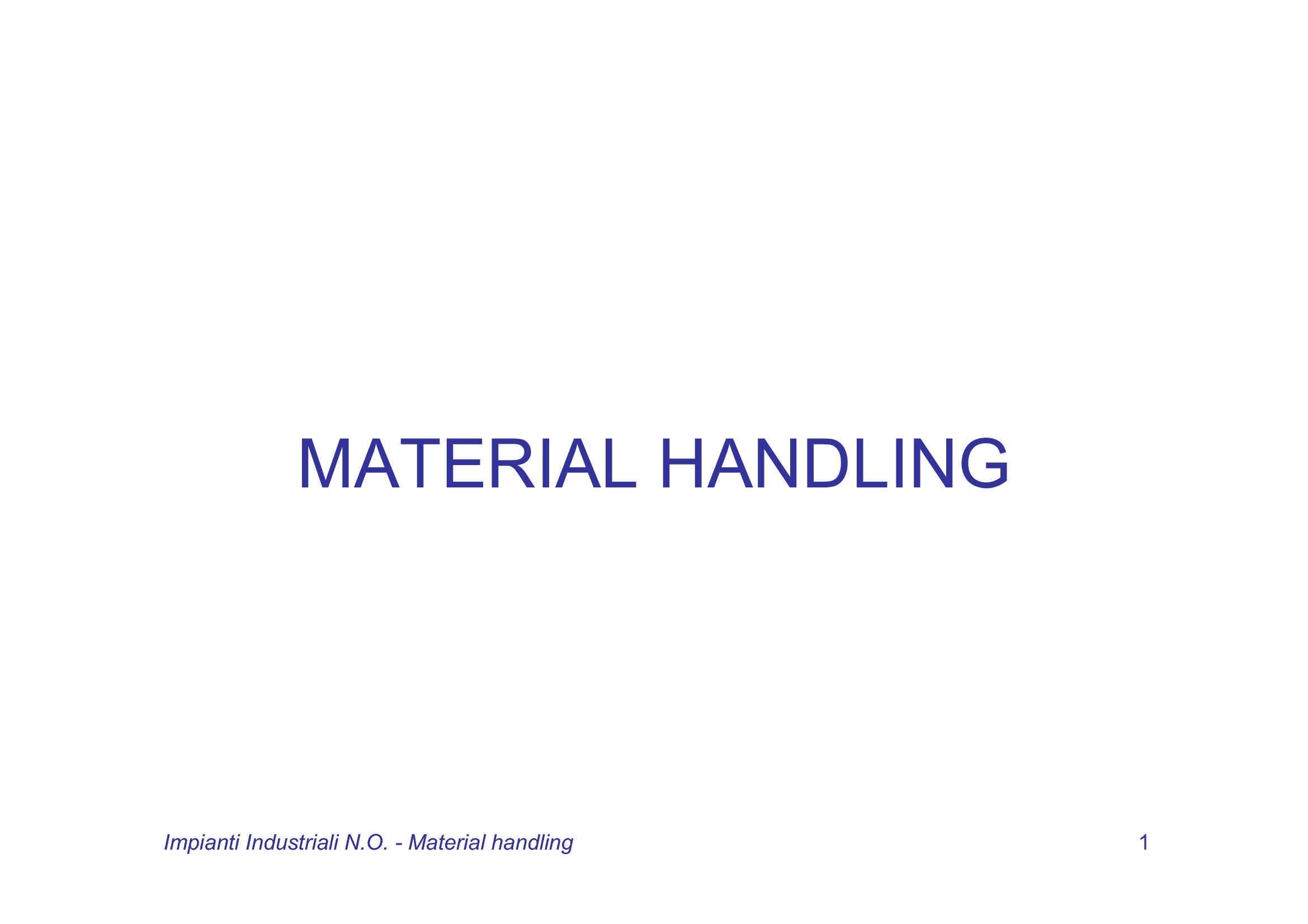 Material Handling - Sistemi di movimentazione