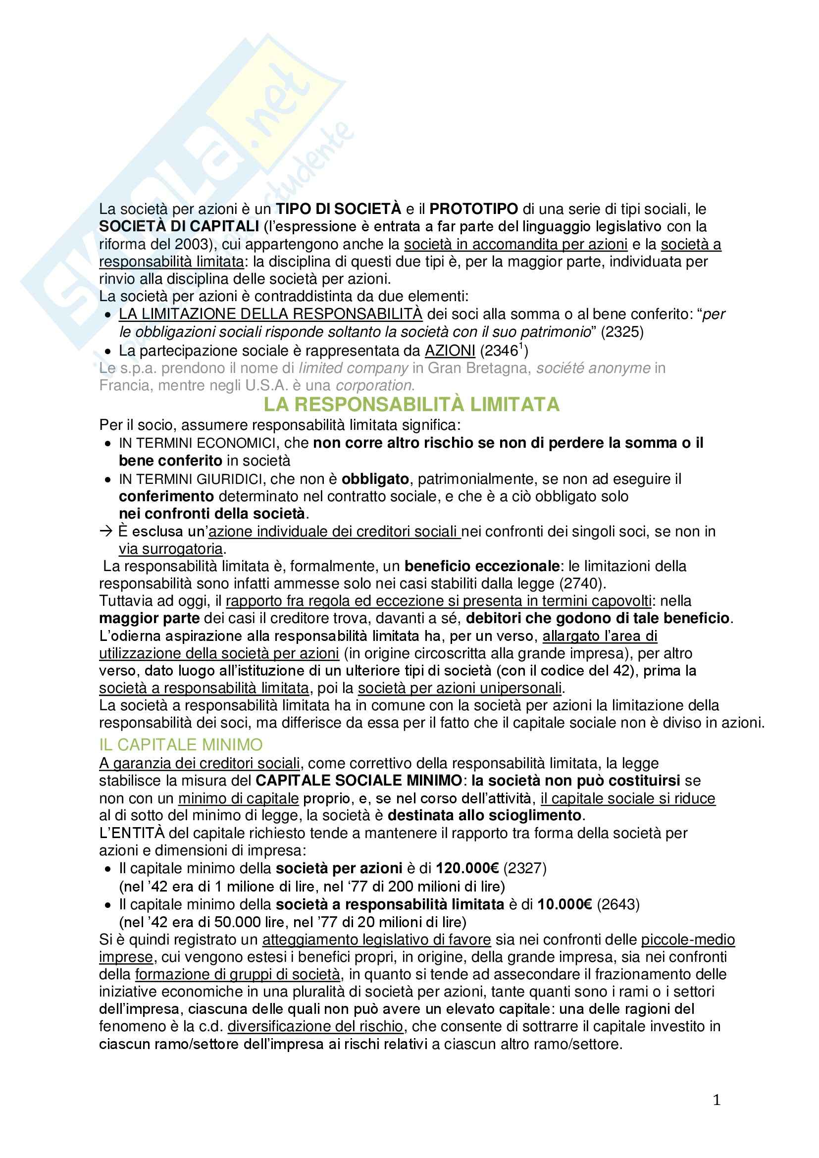 Riassunto esame Diritto commerciale, prof. Meruzzi, libro consigliato Le società di capitali, Galgano