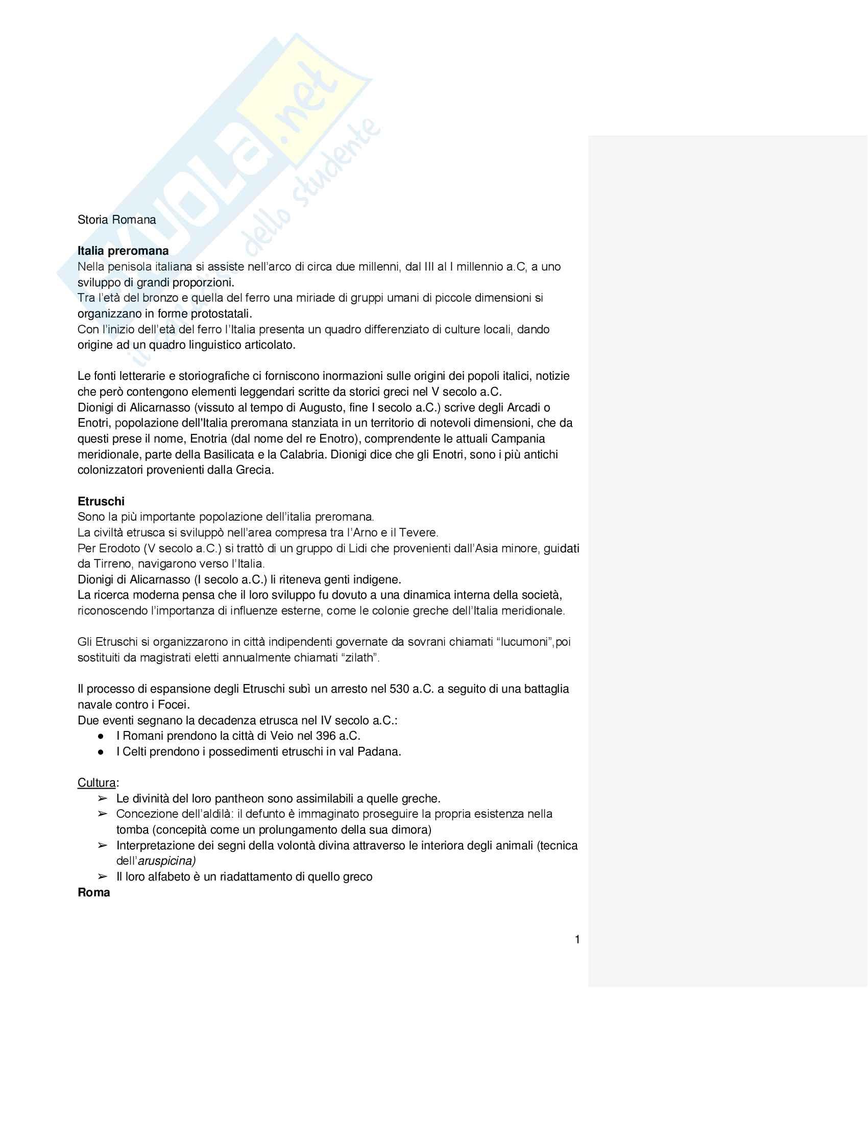 Riassunto esame Storia Romana, docente Marcone, libro consigliato Storia Romana, Geraci, Marcone