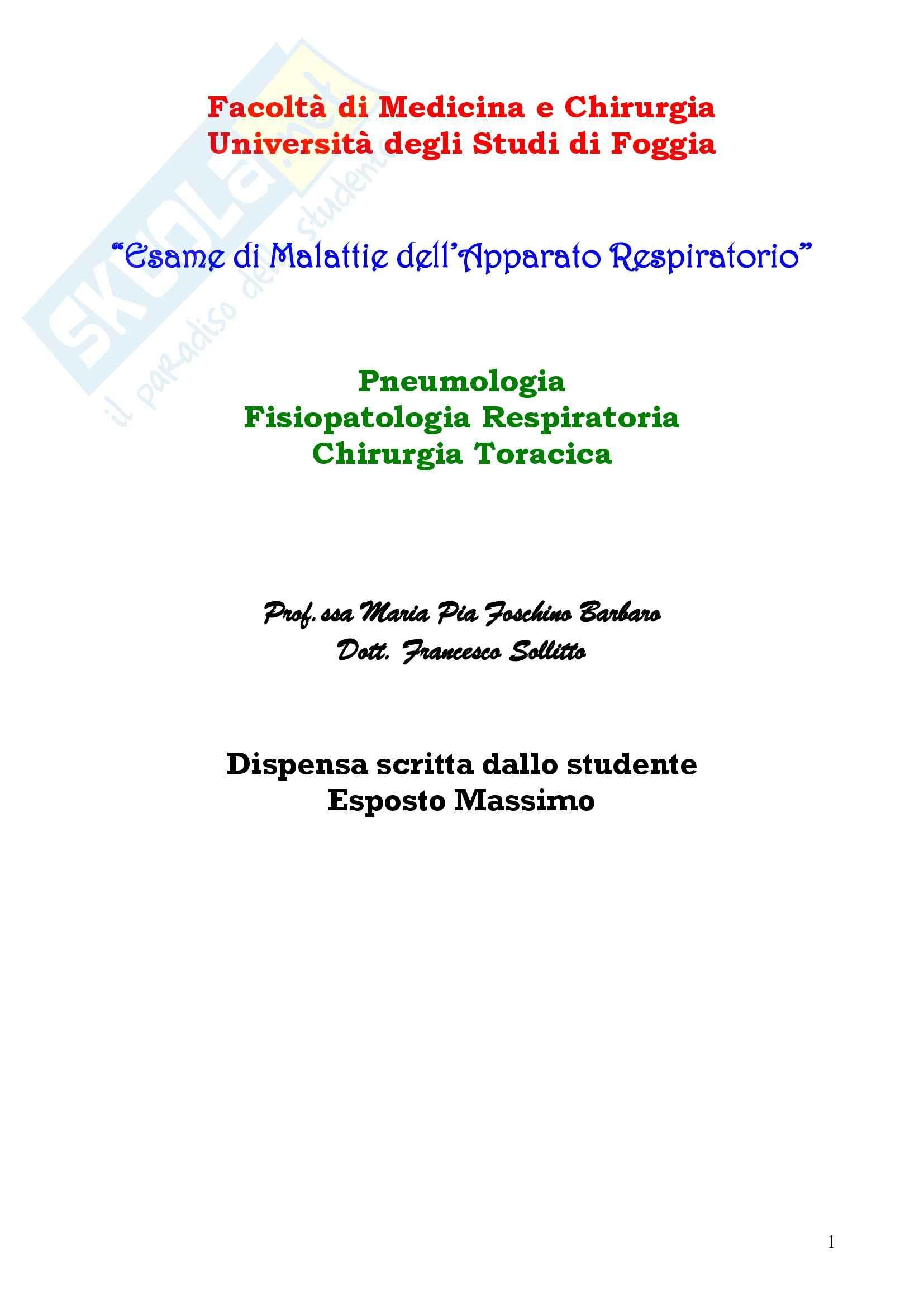 appunto M. Foschino Malattie Apparato Respiratorio
