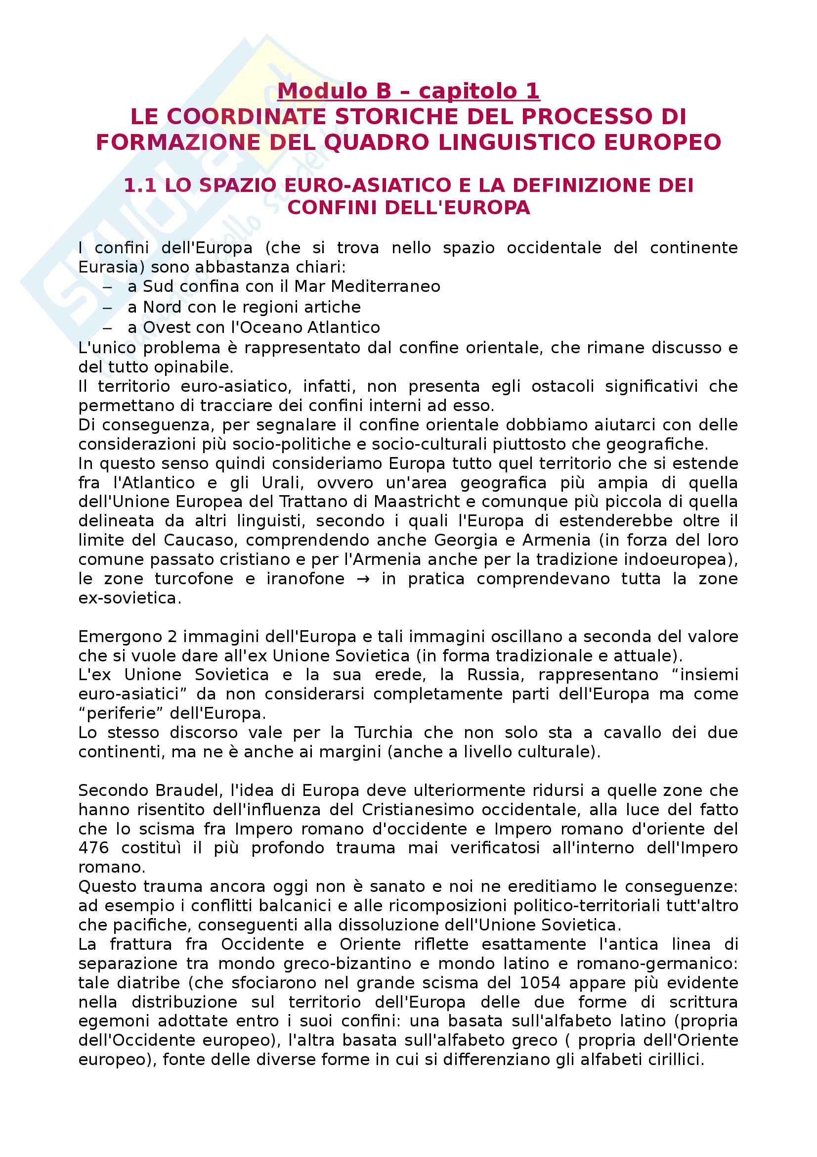 Riassunto esame Linguistica generale, prof. Scala, libro consigliato Lingue d'Europa: Elementi di storia e di tipologia linguistica, Banfi
