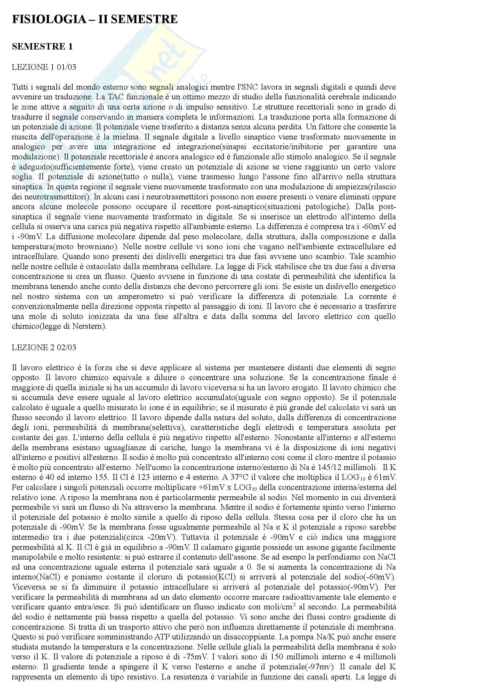 Fisiologia umana - Appunti