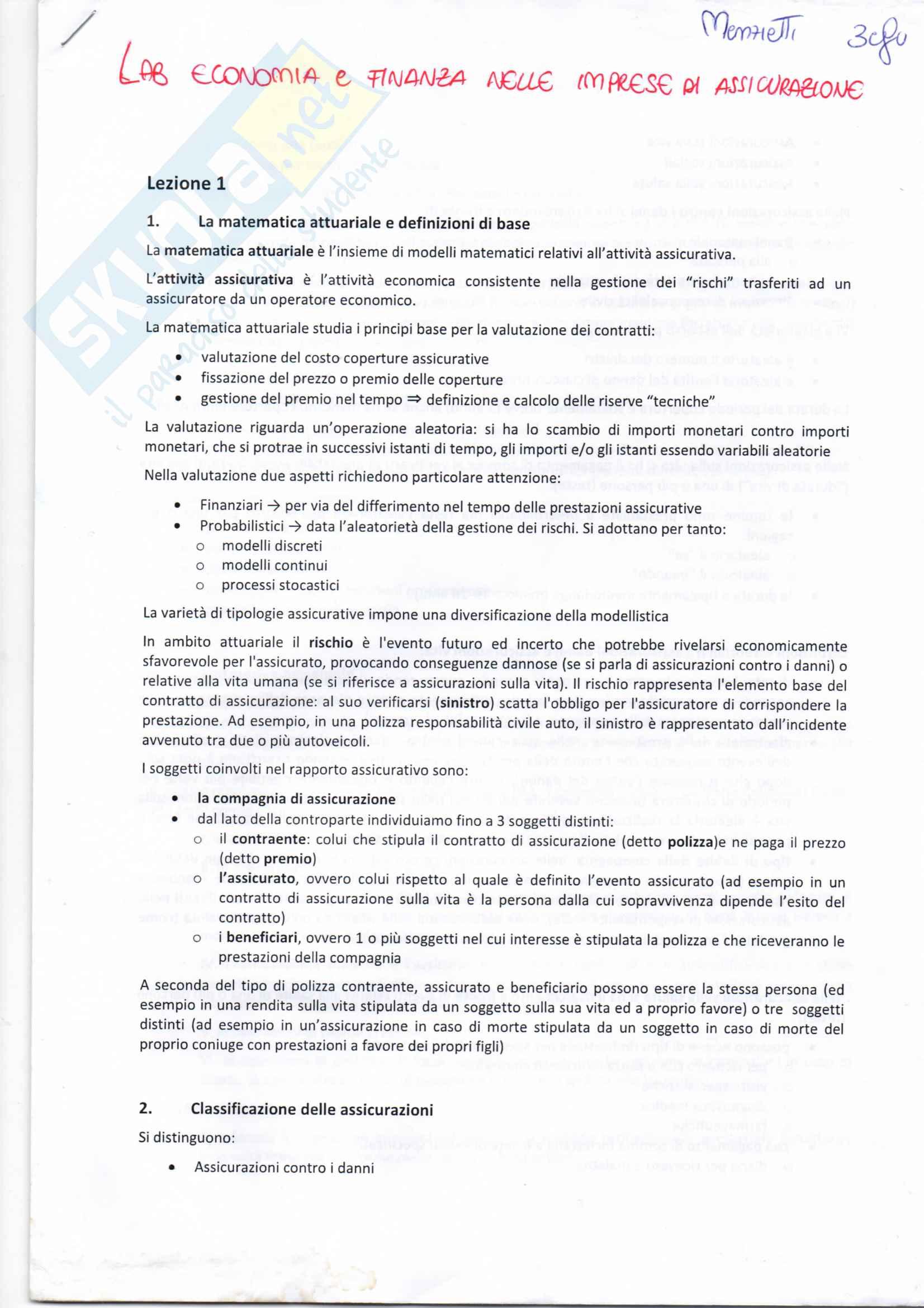 Laboratorio di Economia e Finanza delle Imprese di Assicurazioni