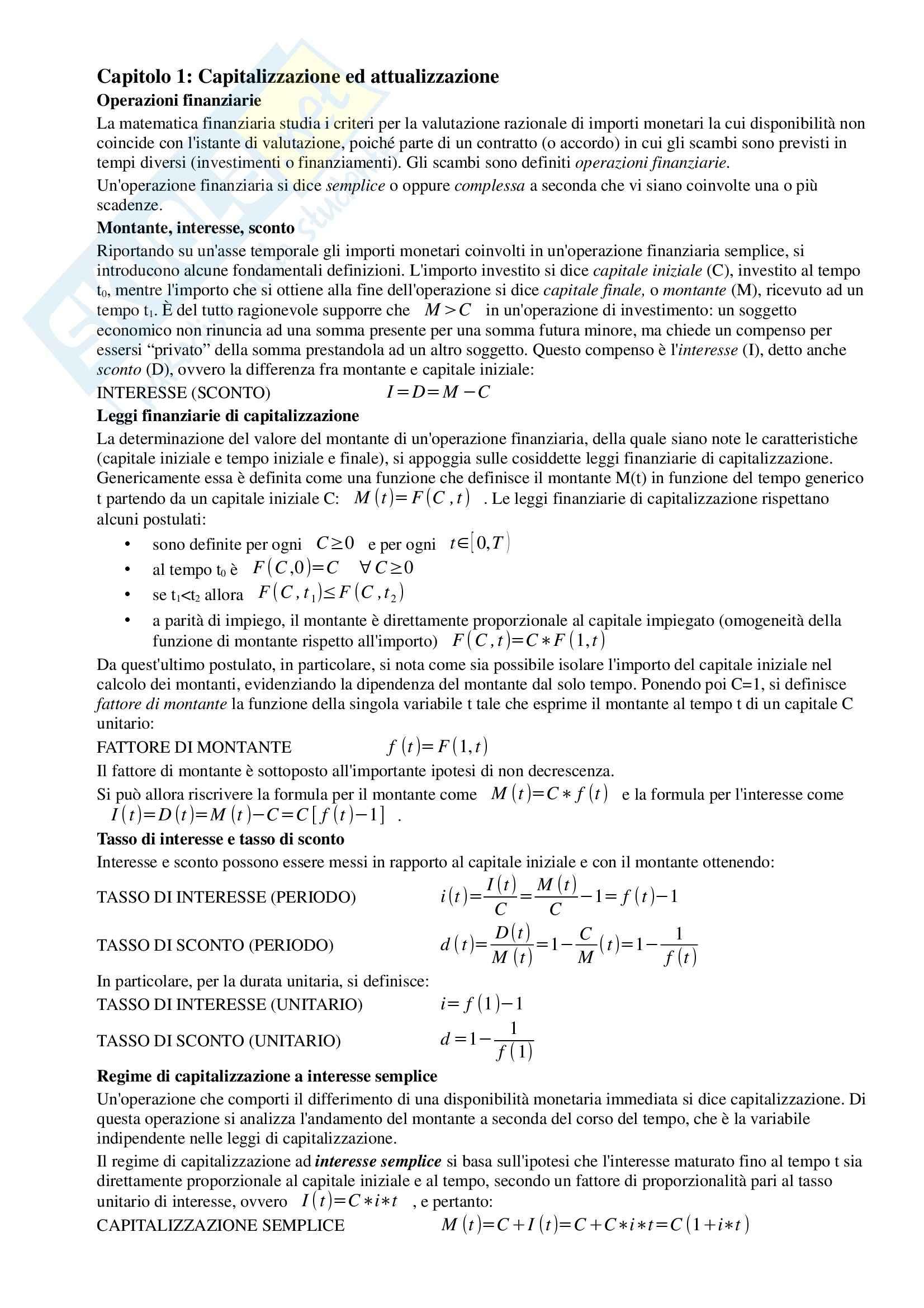 Riassunto esame Matematica Finanziaria, prof. Iannizzotto, libro consigliato Elementi di Matematica Finanziaria e cenni di programmazione lineare, Stefani, Torriero, Zambruno