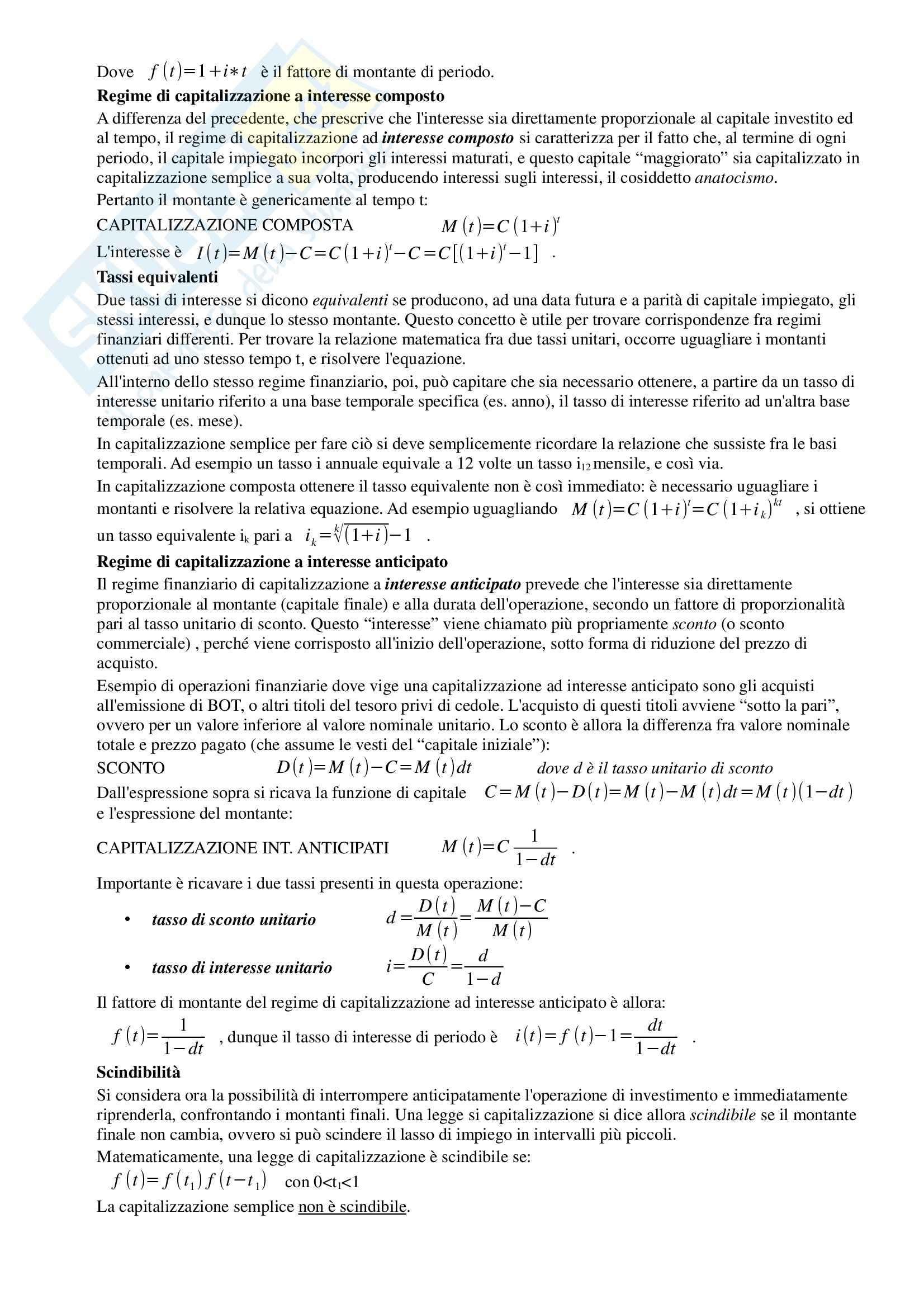 Riassunto esame Matematica Finanziaria, prof. Iannizzotto, libro consigliato Elementi di Matematica Finanziaria e cenni di programmazione lineare, Stefani, Torriero, Zambruno Pag. 2