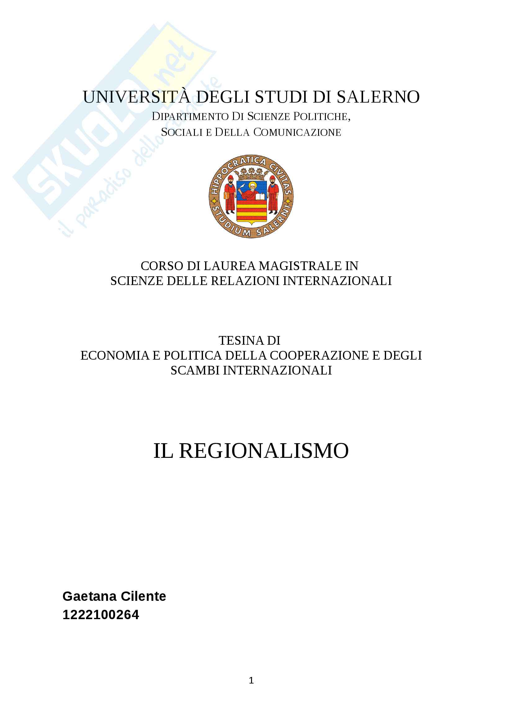 Tesi Il Regionalismo