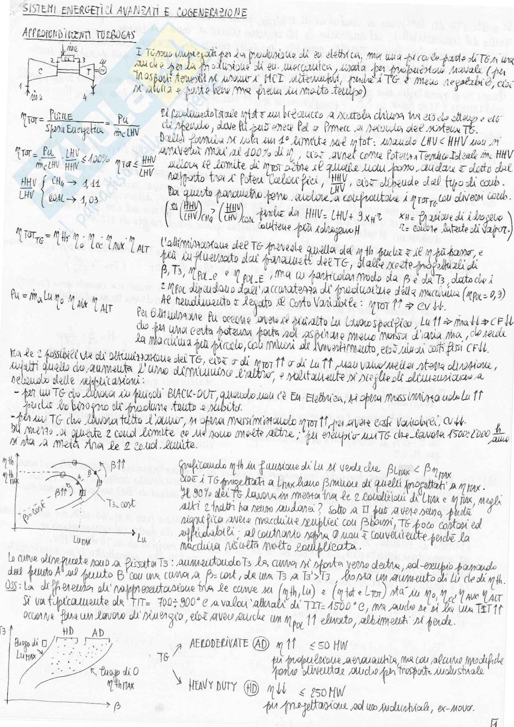Riassunto esame Sistemi Energetici Avanzati e Cogenerazione, prof. Bianchi Pag. 1