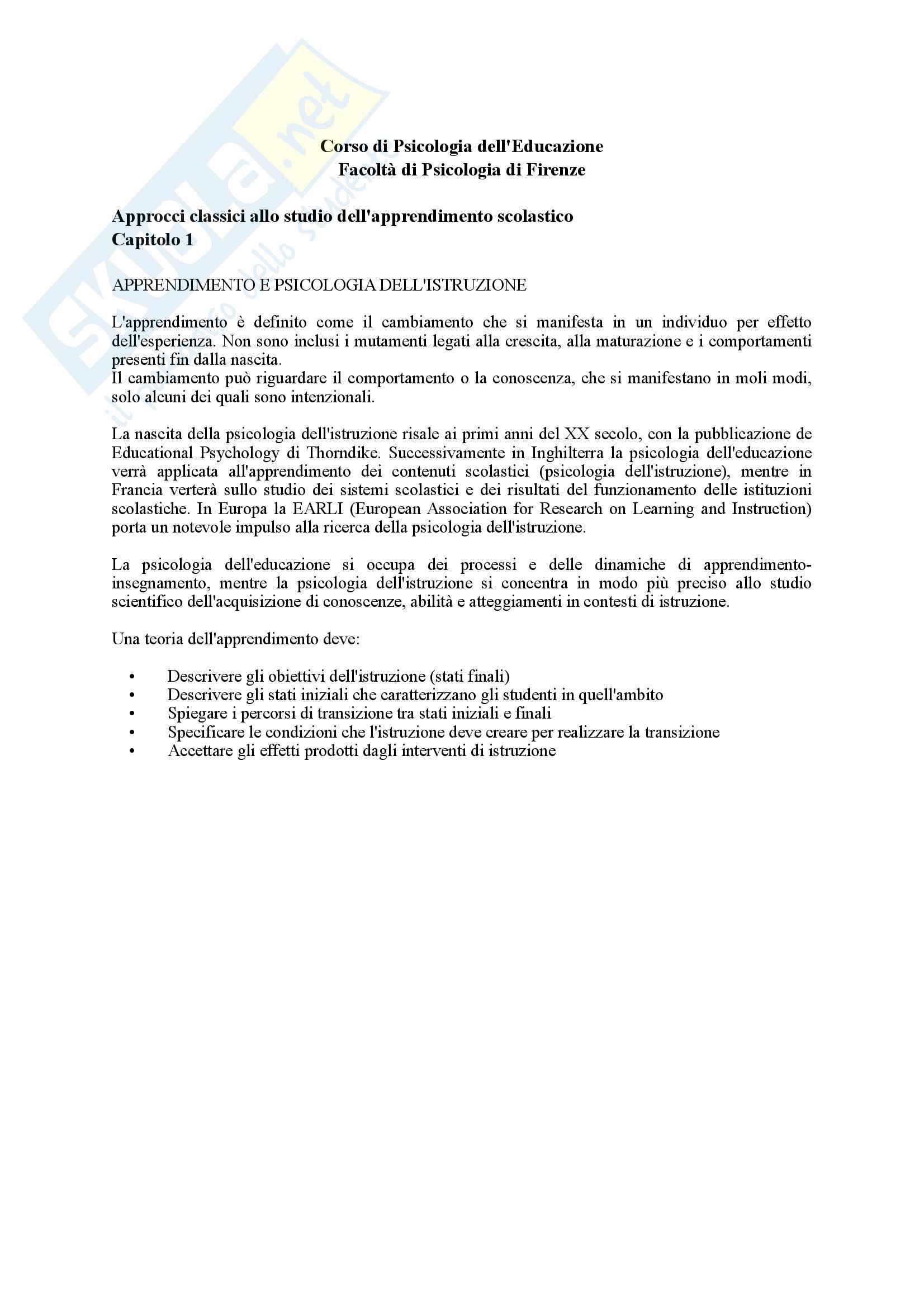 Riassunto esame Psicologia dell'Educazione, prof. Pinto, libro consigliato Psicologia dell'Apprendimento e dell'Istruzione, Mason