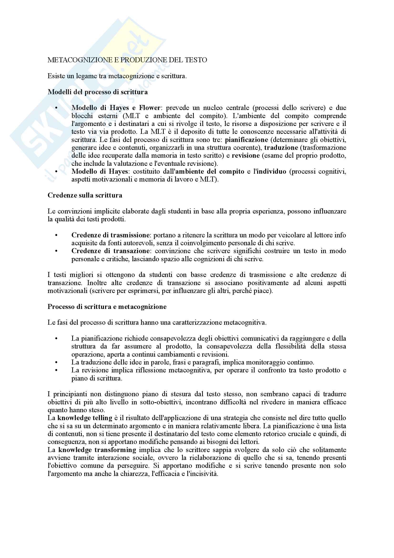 Riassunto esame Psicologia dell'Educazione, prof. Pinto, libro consigliato Psicologia dell'Apprendimento e dell'Istruzione, Mason Pag. 31
