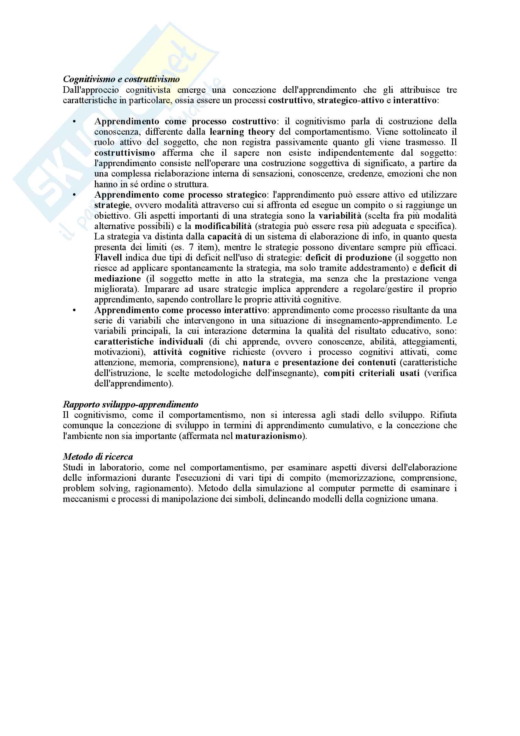 Riassunto esame Psicologia dell'Educazione, prof. Pinto, libro consigliato Psicologia dell'Apprendimento e dell'Istruzione, Mason Pag. 6