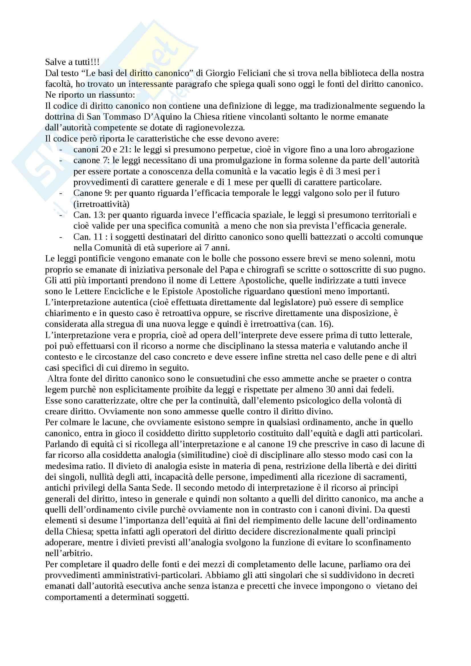 Diritto Canonico - Fonti