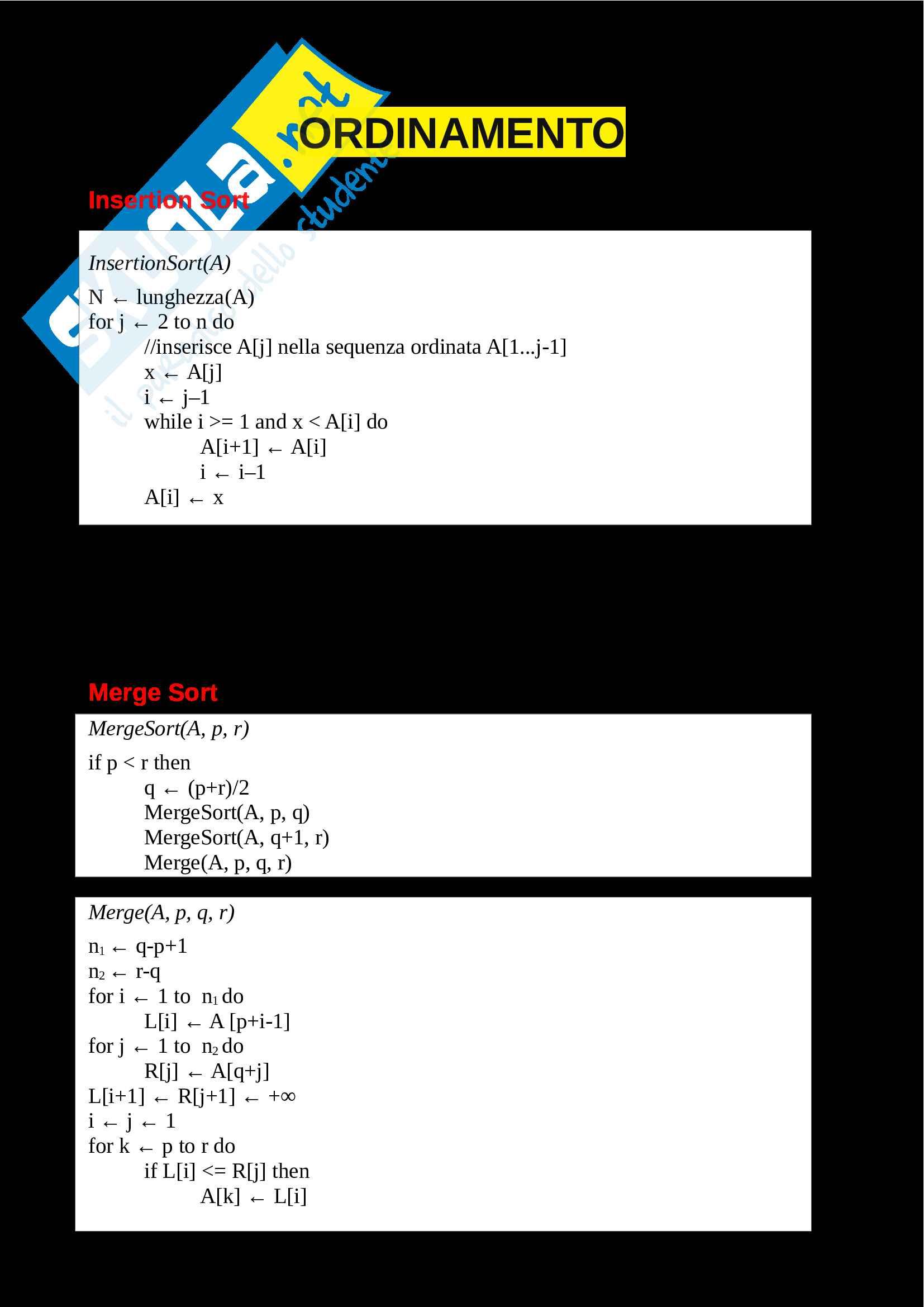 Algoritmi - Ordinamento, strutture dati, alberi, code di priorità e tabelle hash