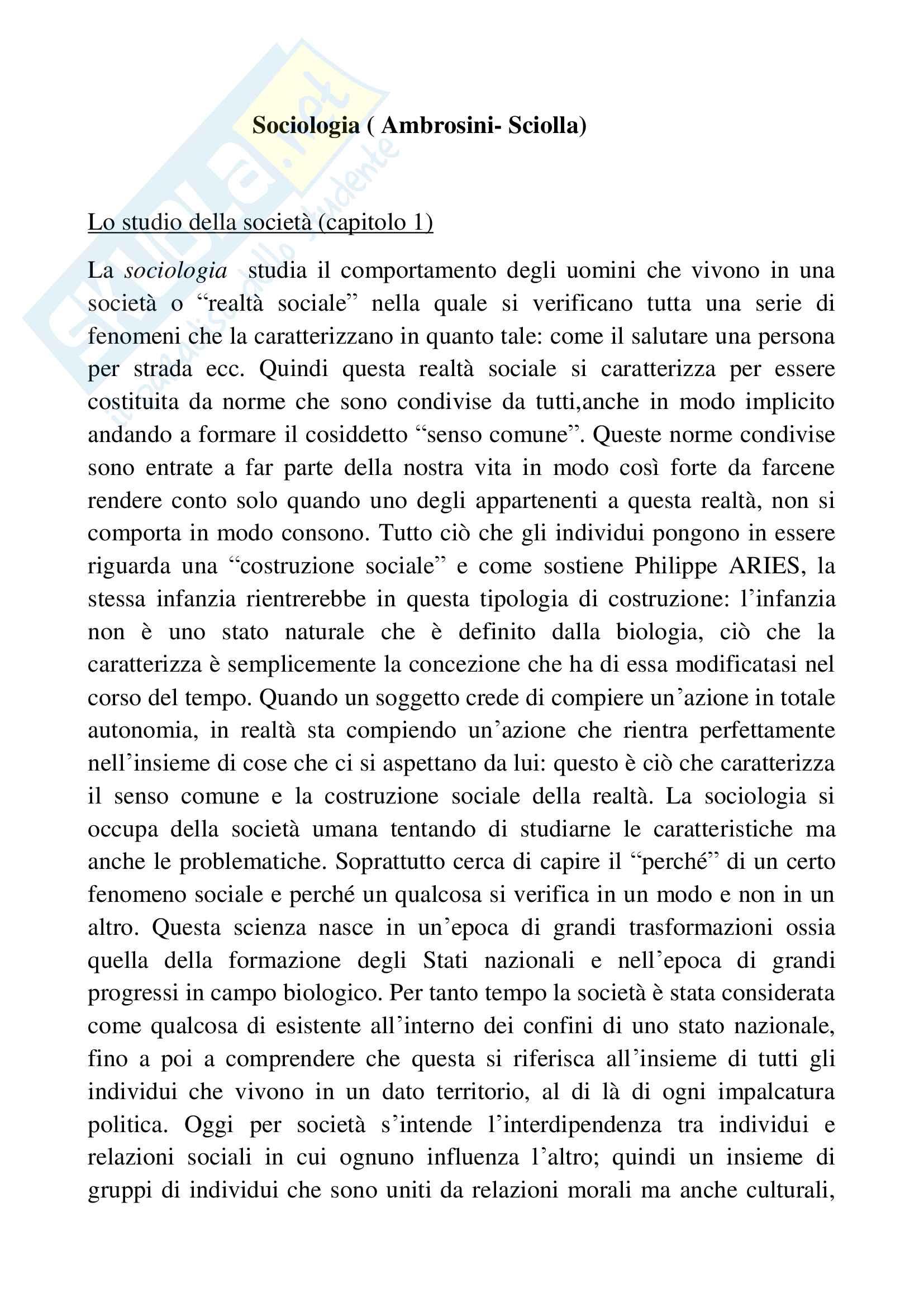 Riassunto esame sociologia generale, docente Pizzo, libro consigliato Sociologia generale, Ambrosini, Sciolla