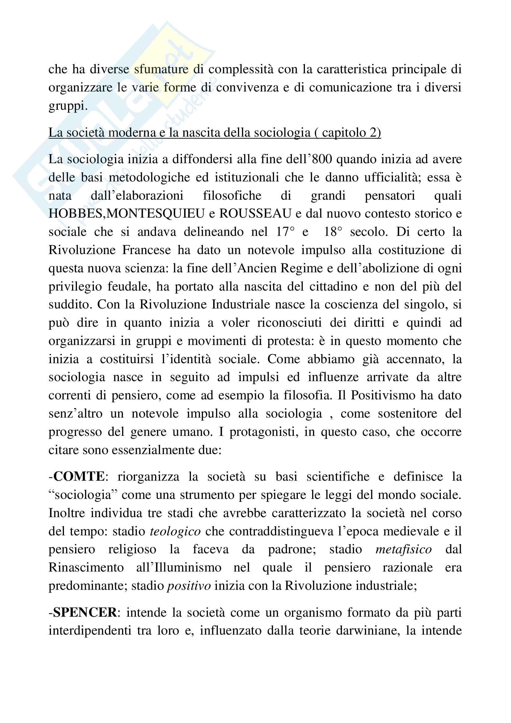 Riassunto esame sociologia generale, docente Pizzo, libro consigliato Sociologia generale, Ambrosini, Sciolla Pag. 2
