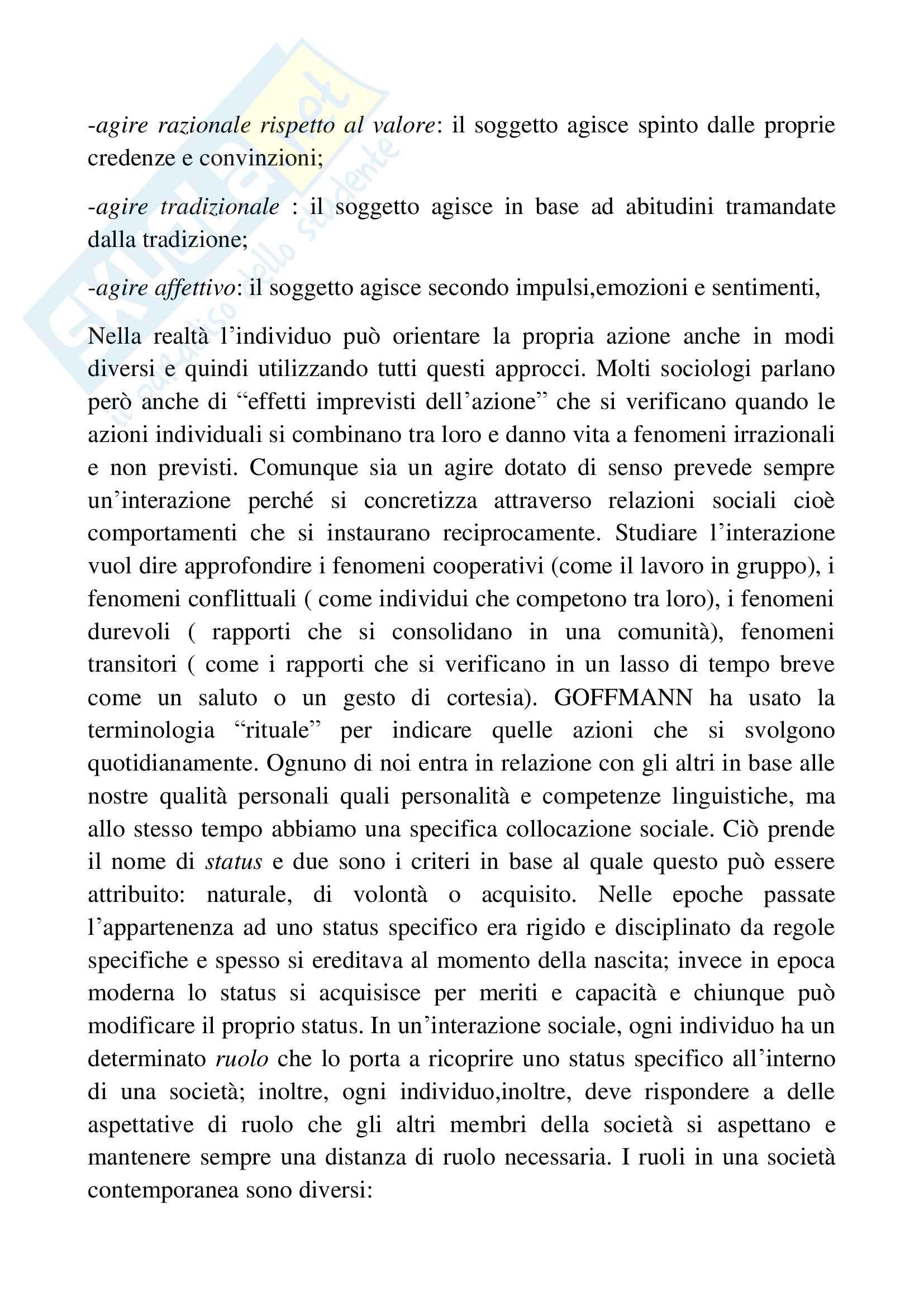 Riassunto esame sociologia generale, docente Pizzo, libro consigliato Sociologia generale, Ambrosini, Sciolla Pag. 6