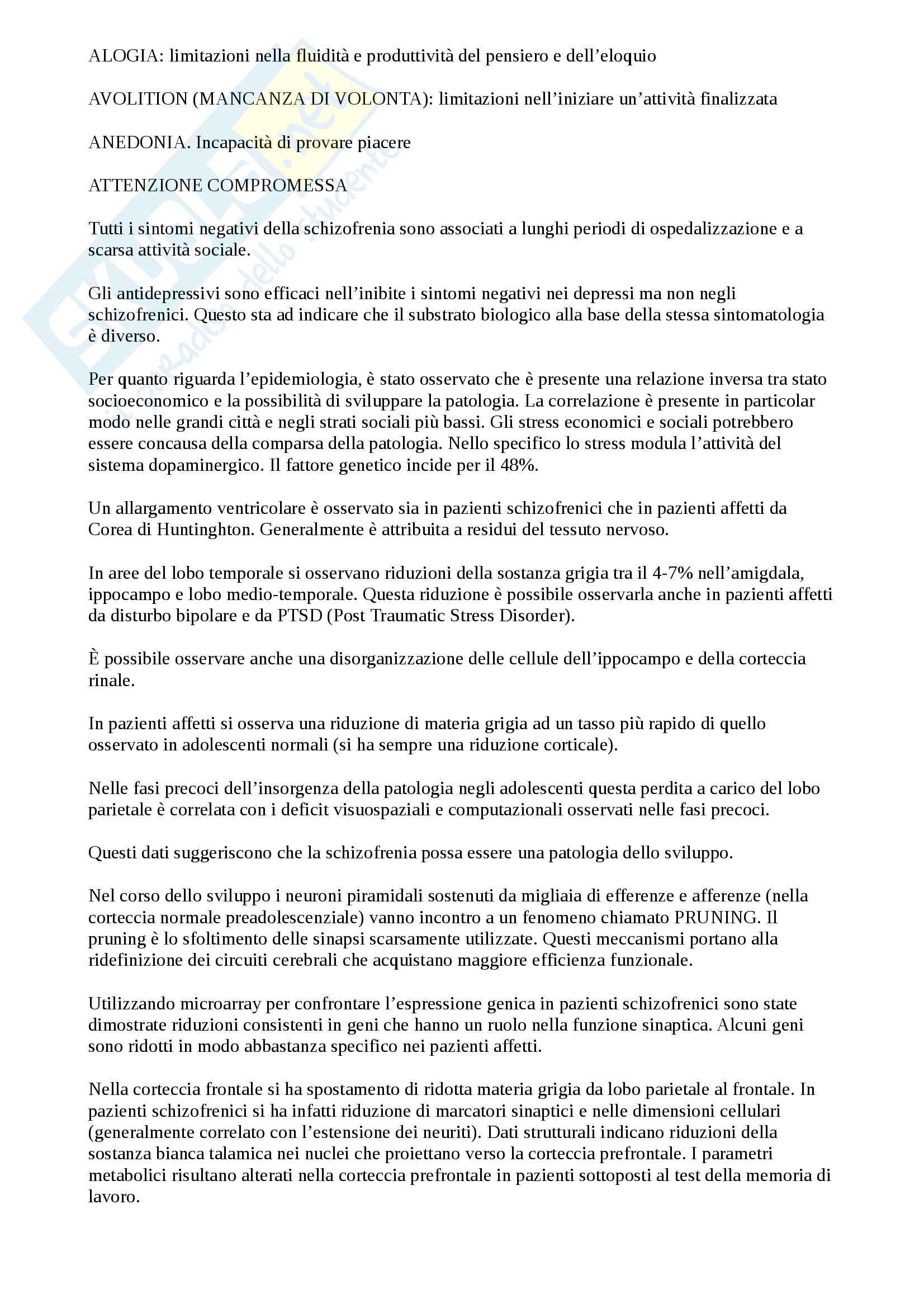 Basi organiche della Schizofrenia Pag. 2
