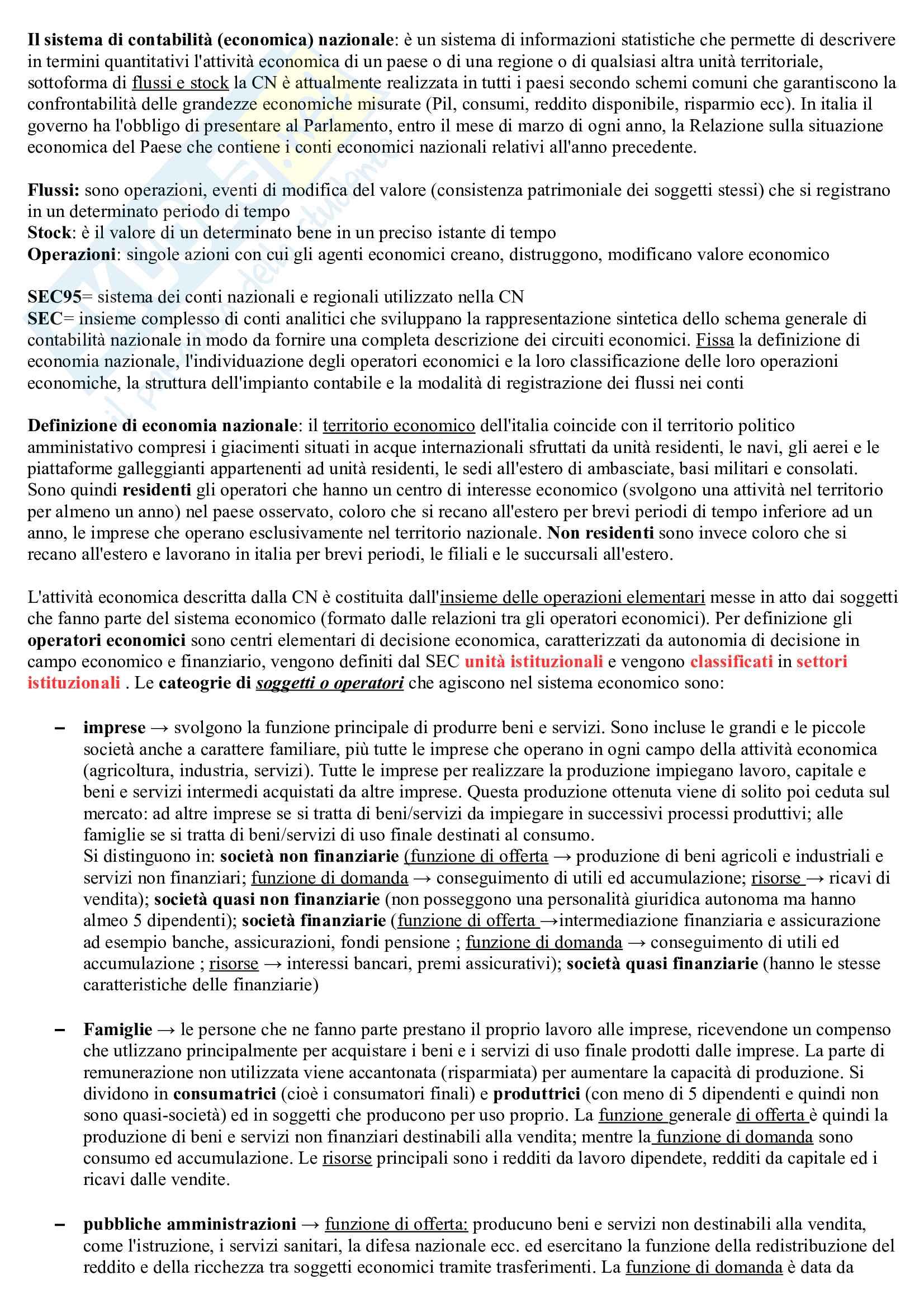 Statistica economica, prof Busetta Pag. 1