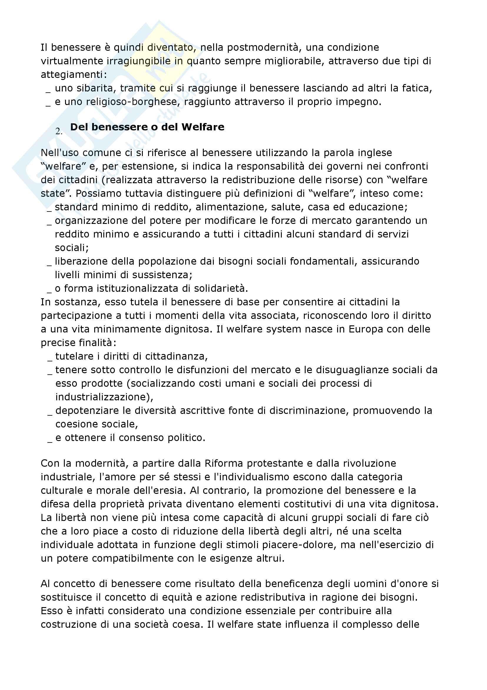 Riassunto esame Sociologia del benessere, prof. Matteucci, libro consigliato Sociologia del benessere, Secondulfo Pag. 2