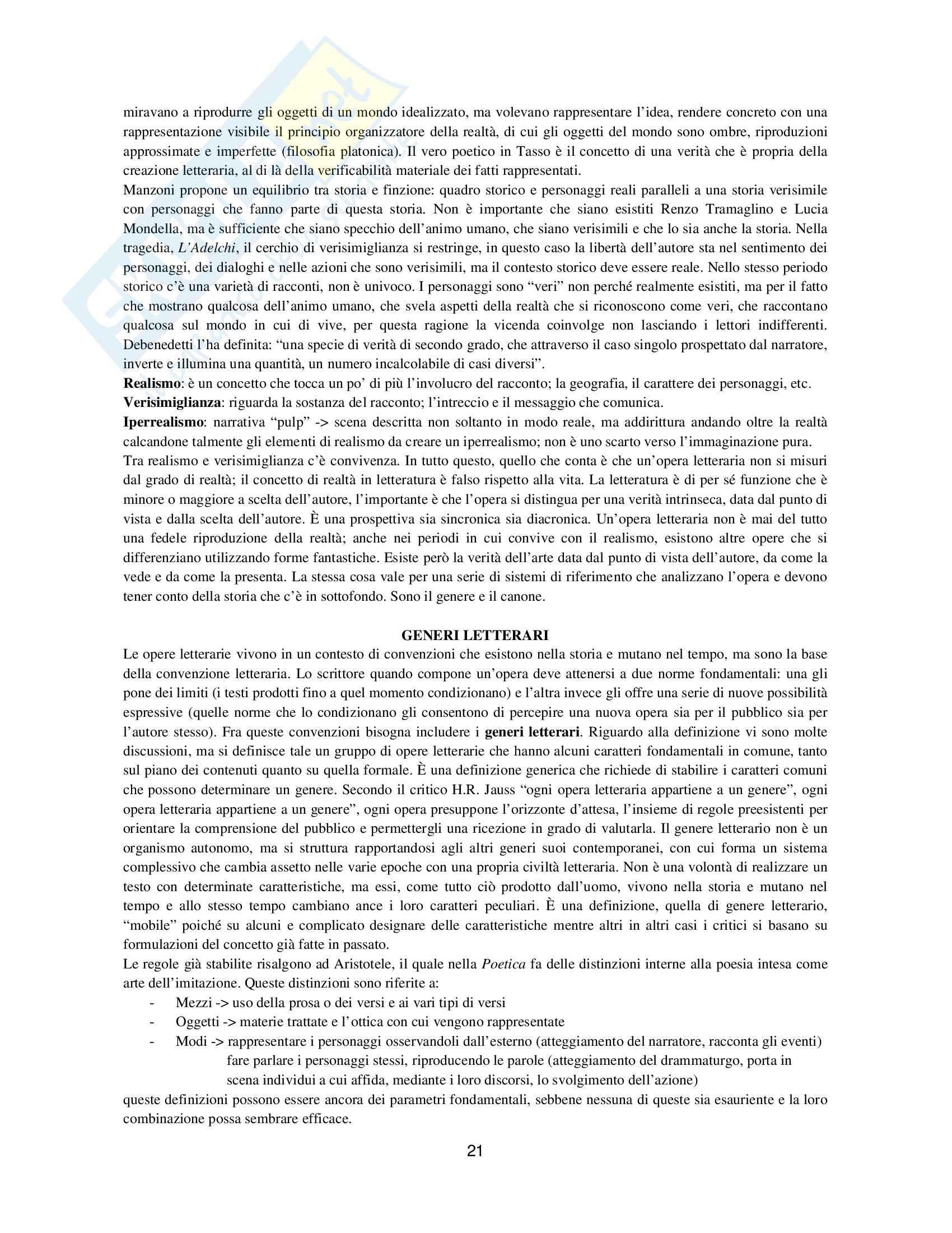 Riassunto esame Letteratura Italiana, prof. Barberi, libro consigliato Dimensioni della Letteratura Casadei Pag. 21
