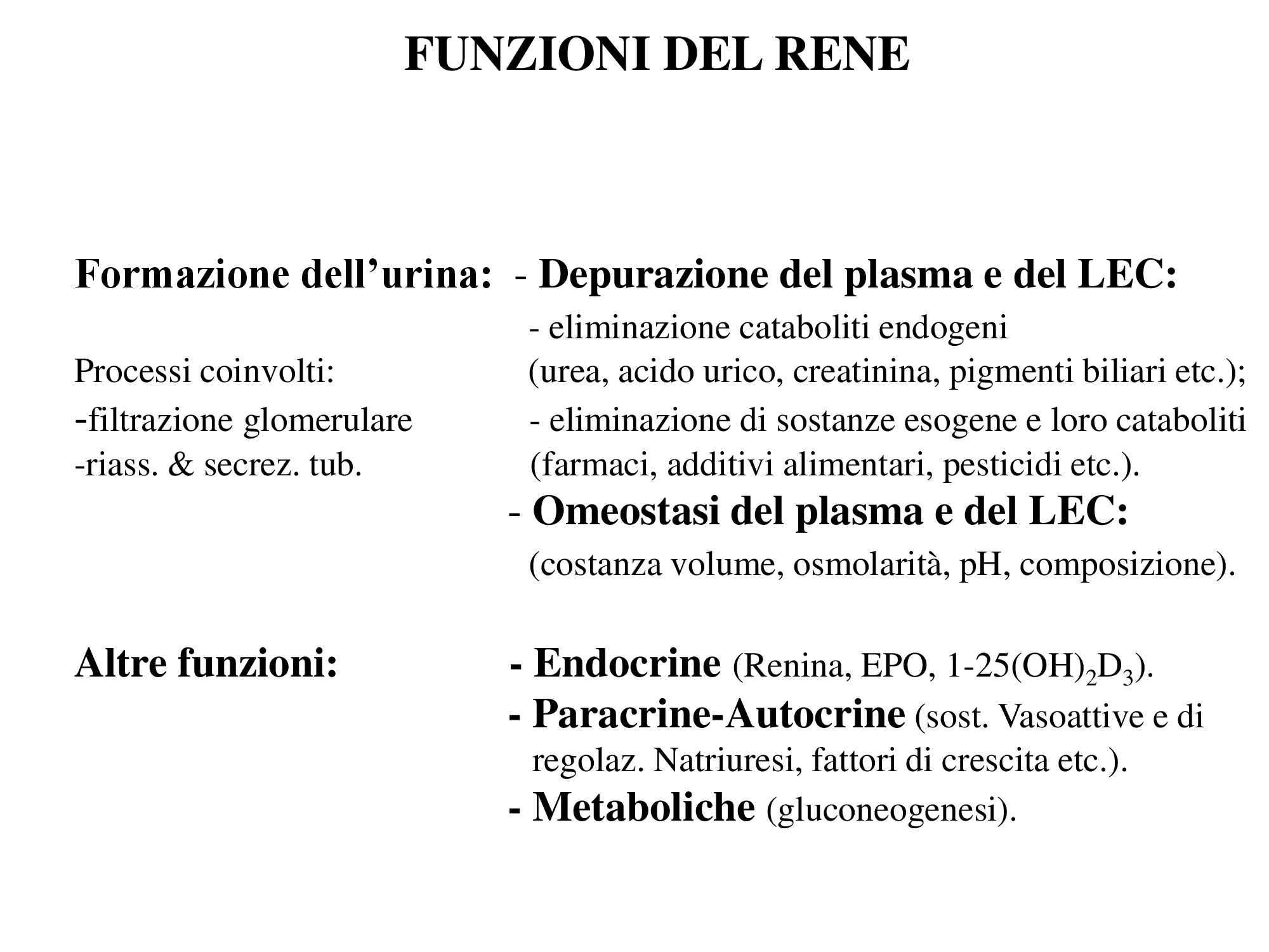 Funzioni del rene - Fisiologia III