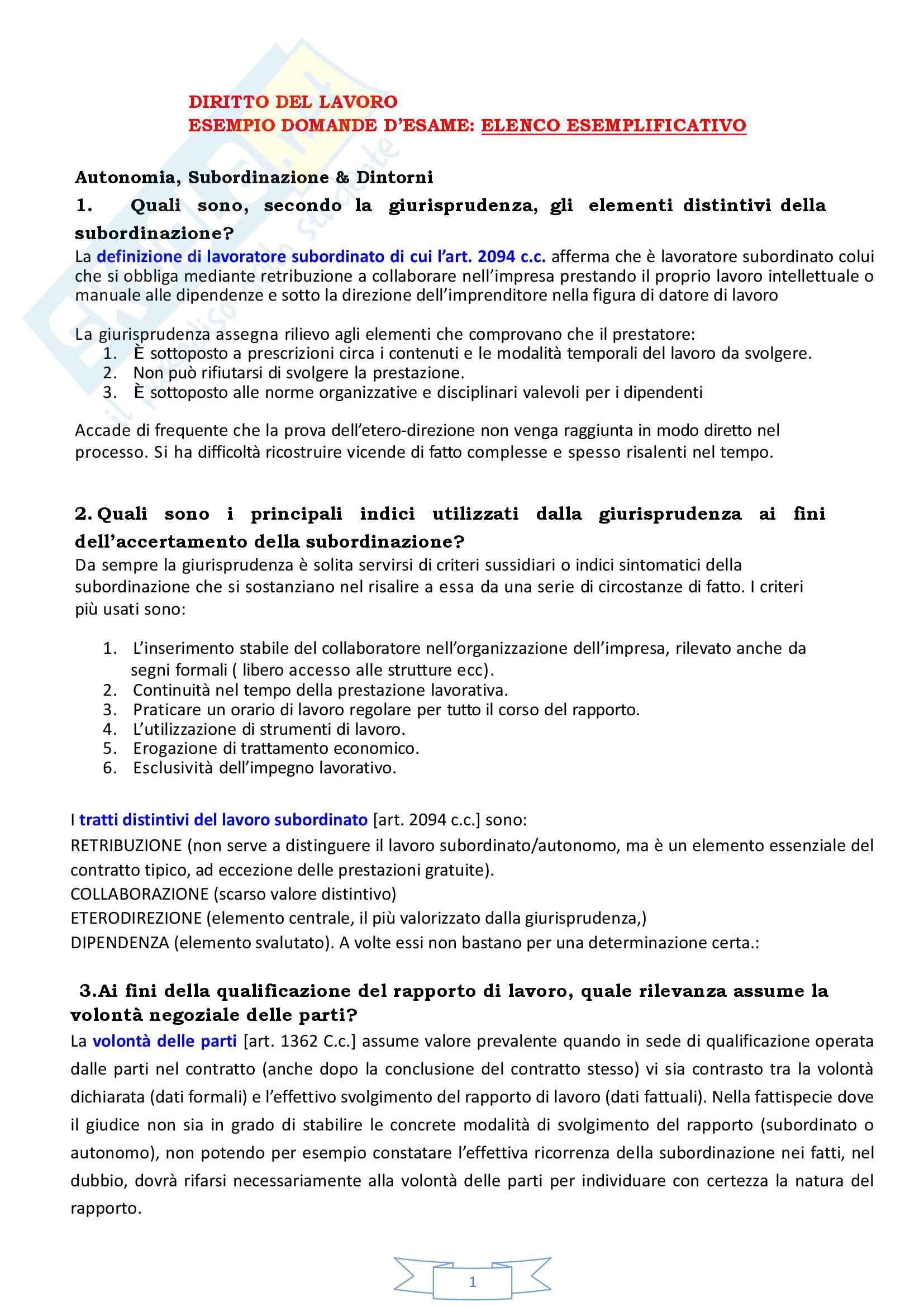 Diritto del lavoro - domande e risposte esame