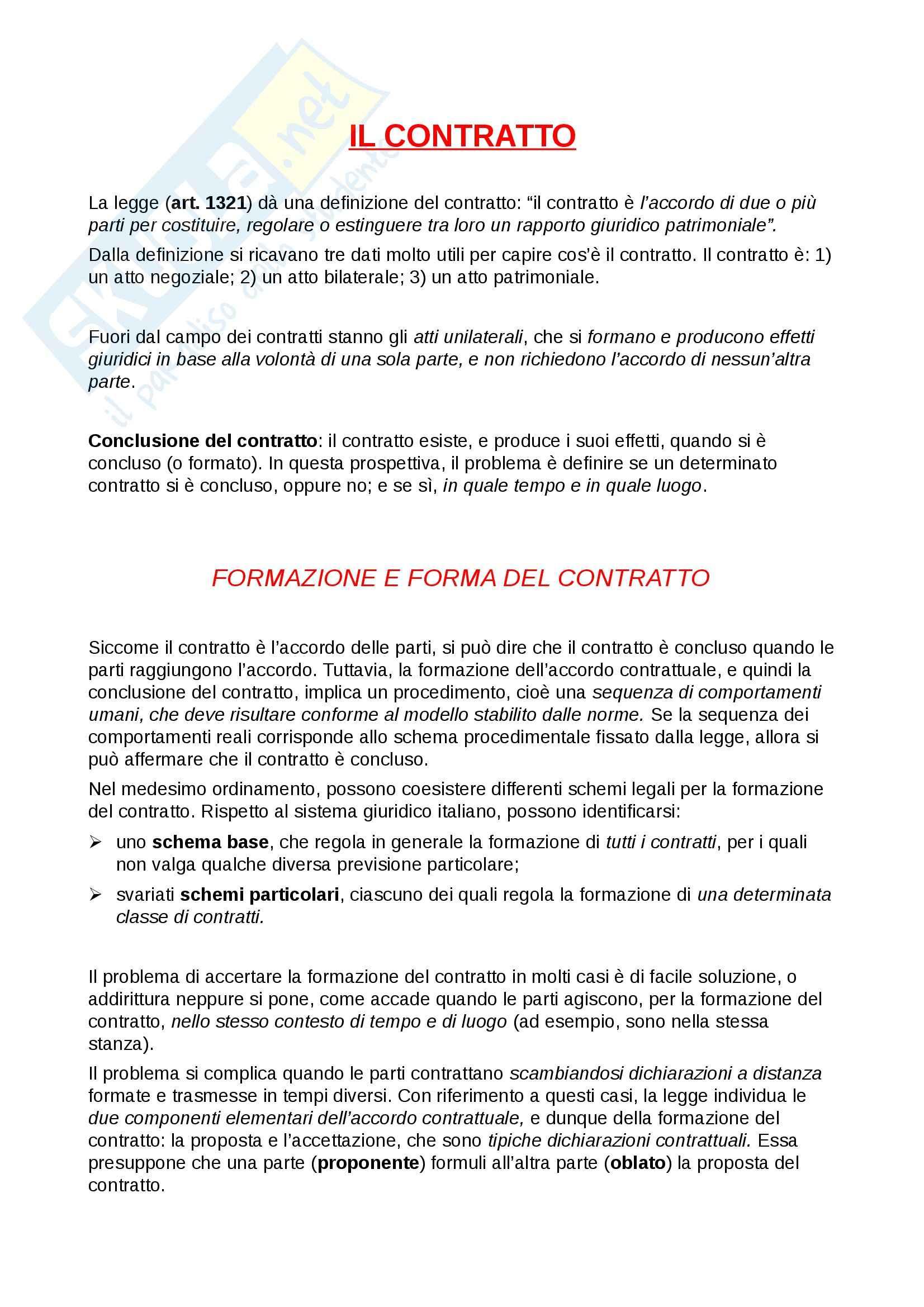Contratto: Appunti di Diritto Privato