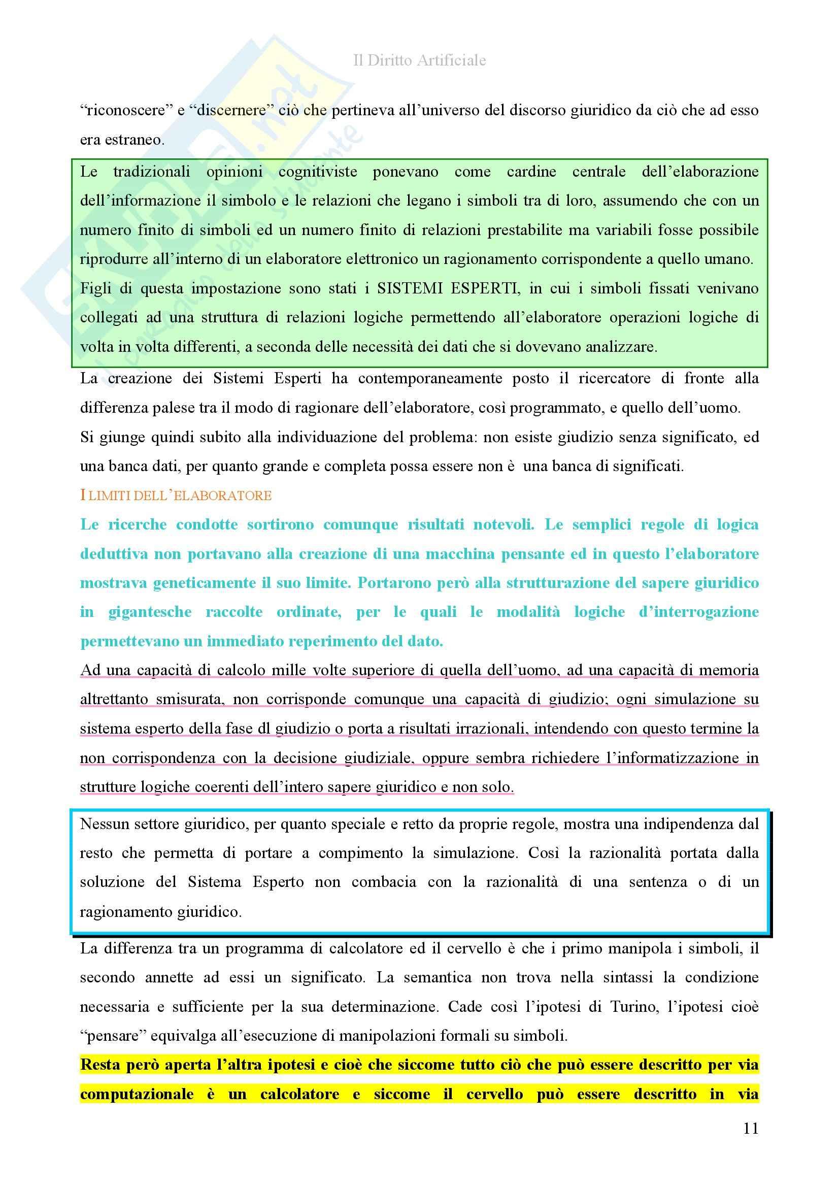Riassunto esame diInformatica giuridica,, prof. Romeo, libro consigliato Il diritto artificiale, Romeo Pag. 11