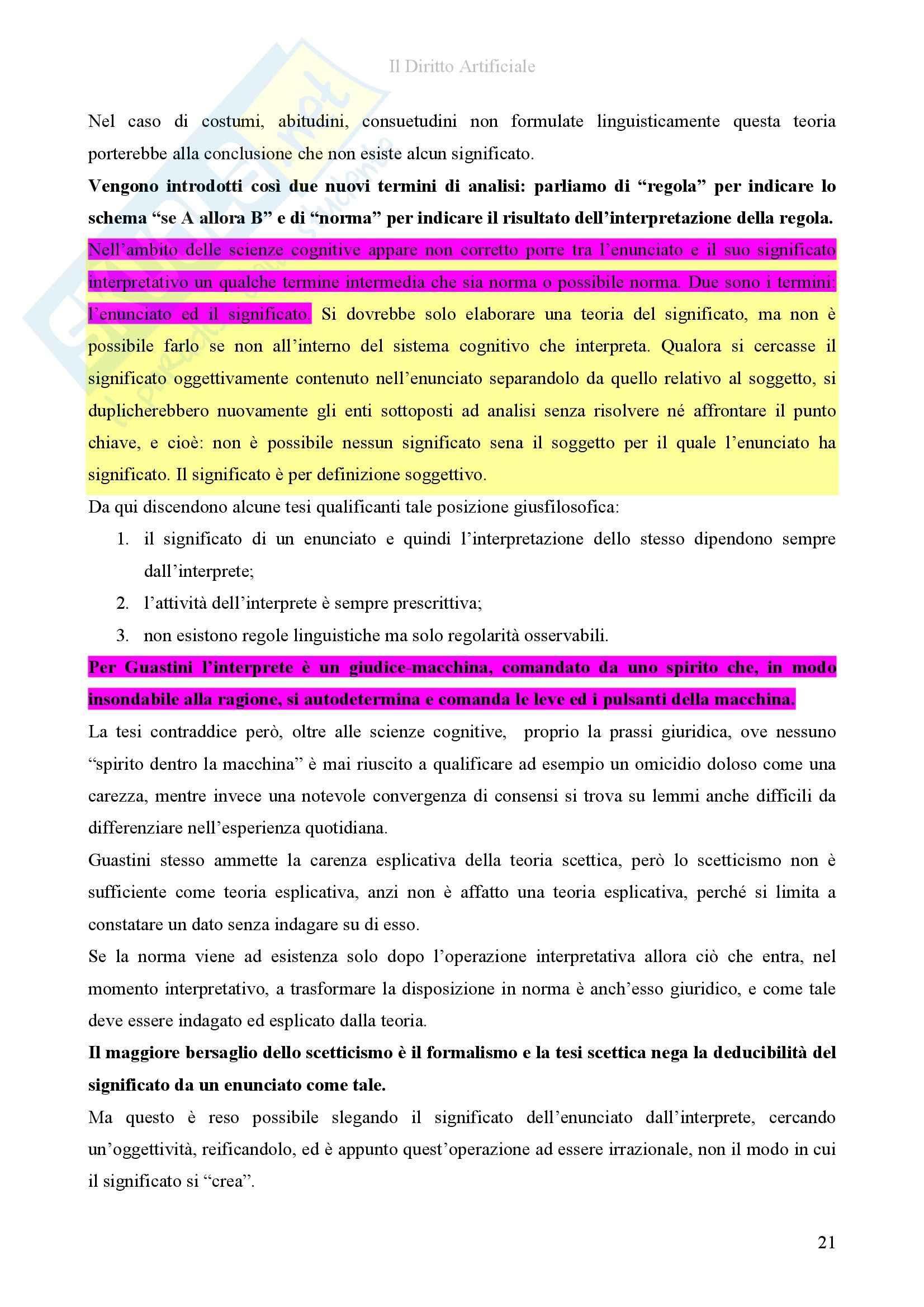 Riassunto esame diInformatica giuridica,, prof. Romeo, libro consigliato Il diritto artificiale, Romeo Pag. 21