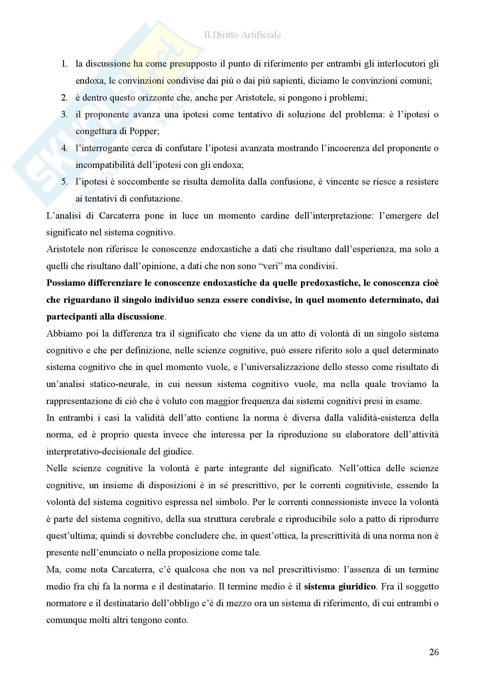 Riassunto esame diInformatica giuridica,, prof. Romeo, libro consigliato Il diritto artificiale, Romeo Pag. 26