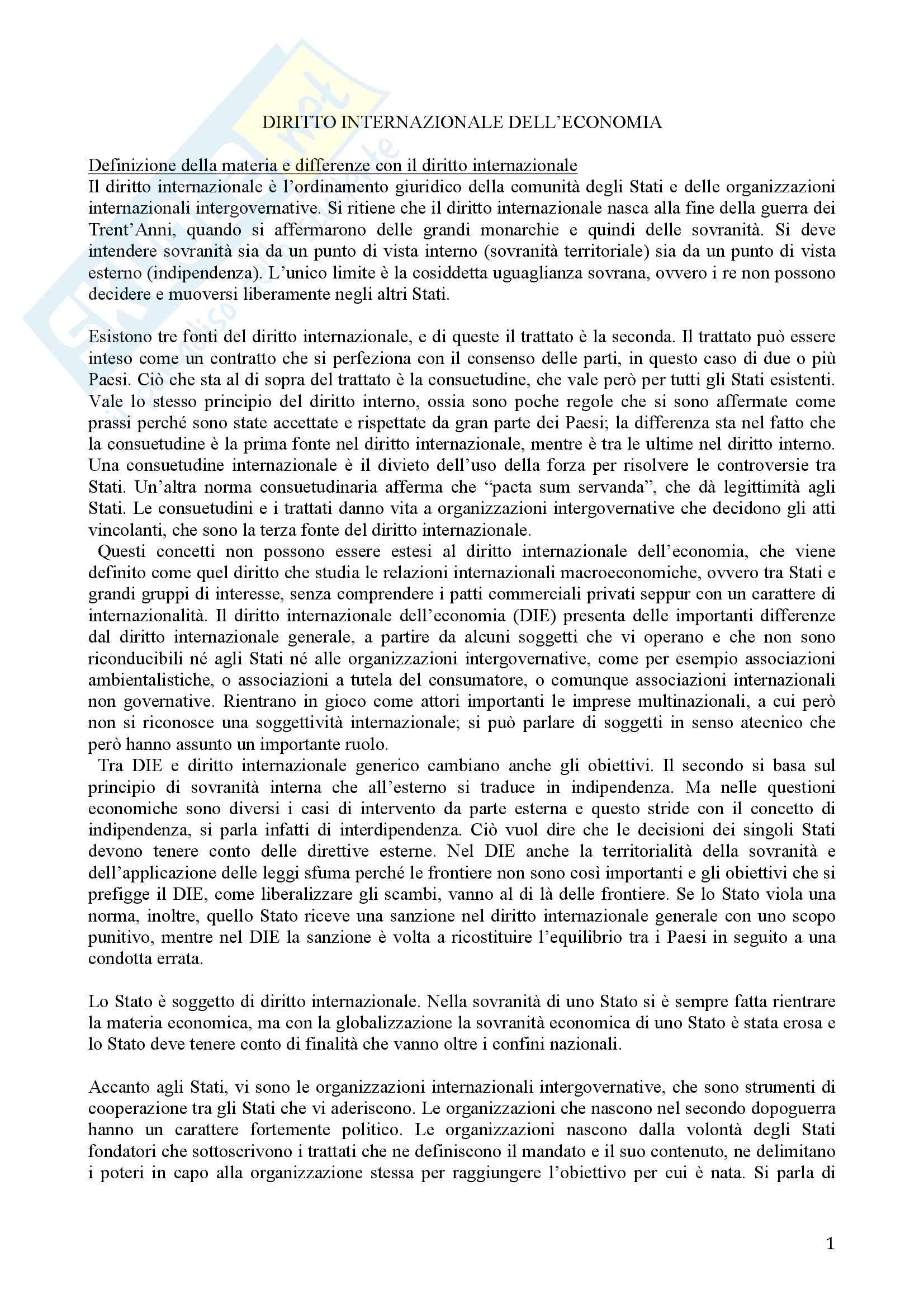 Diritto Internazionale dell'Economia