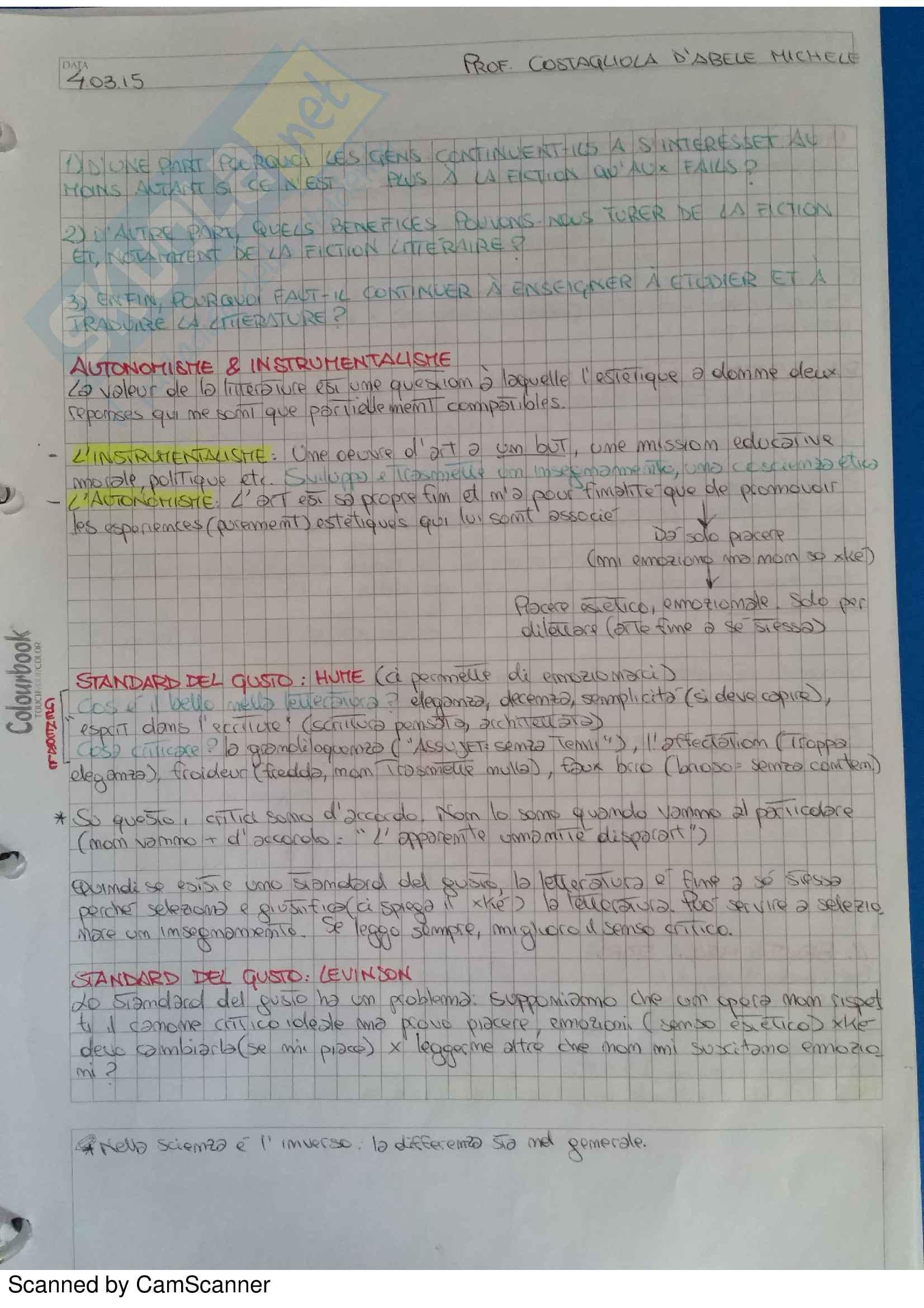 Appunti Completi Letteratura Francese I