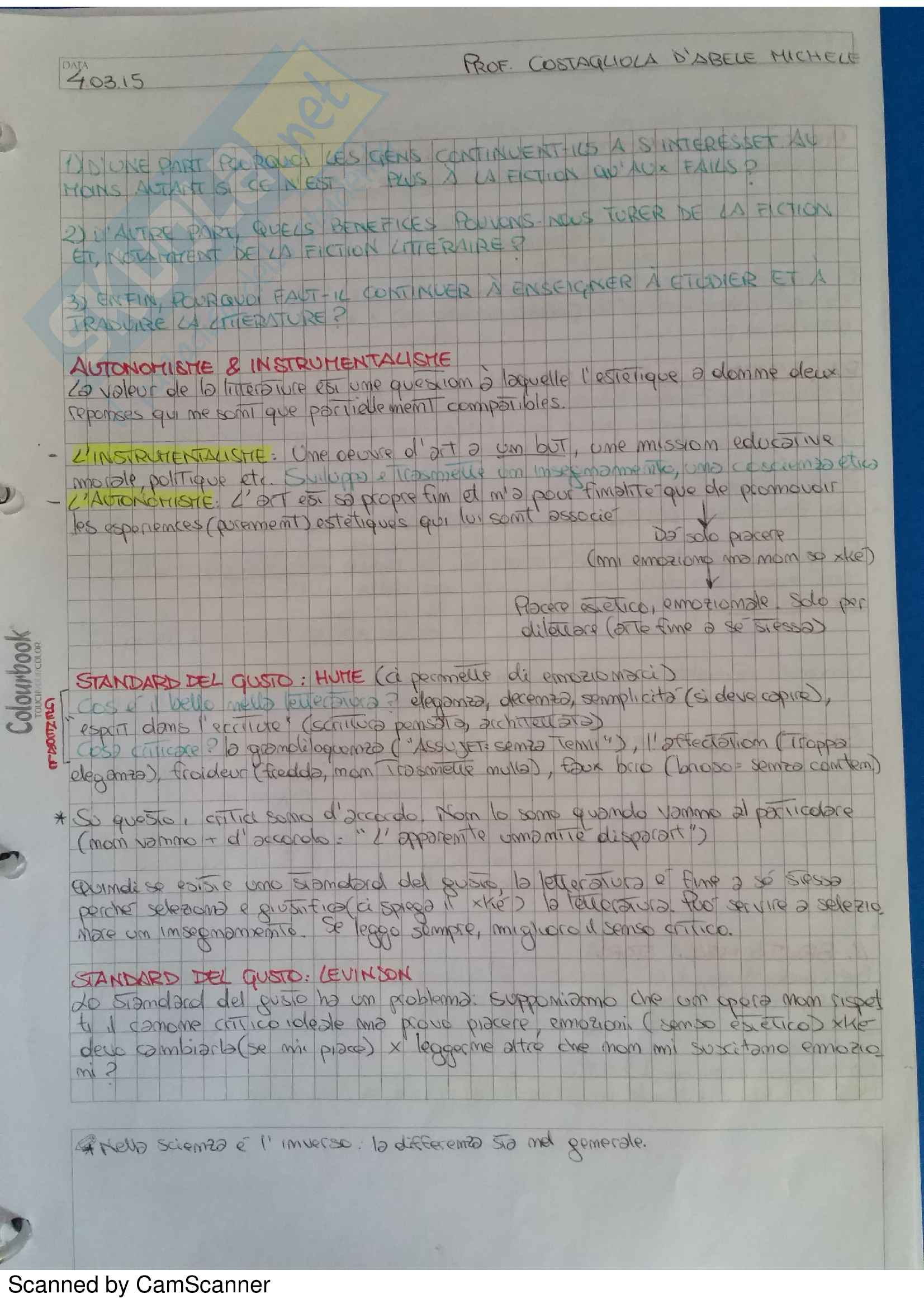 appunto M. Costagliola d'Abele Letteratura francese