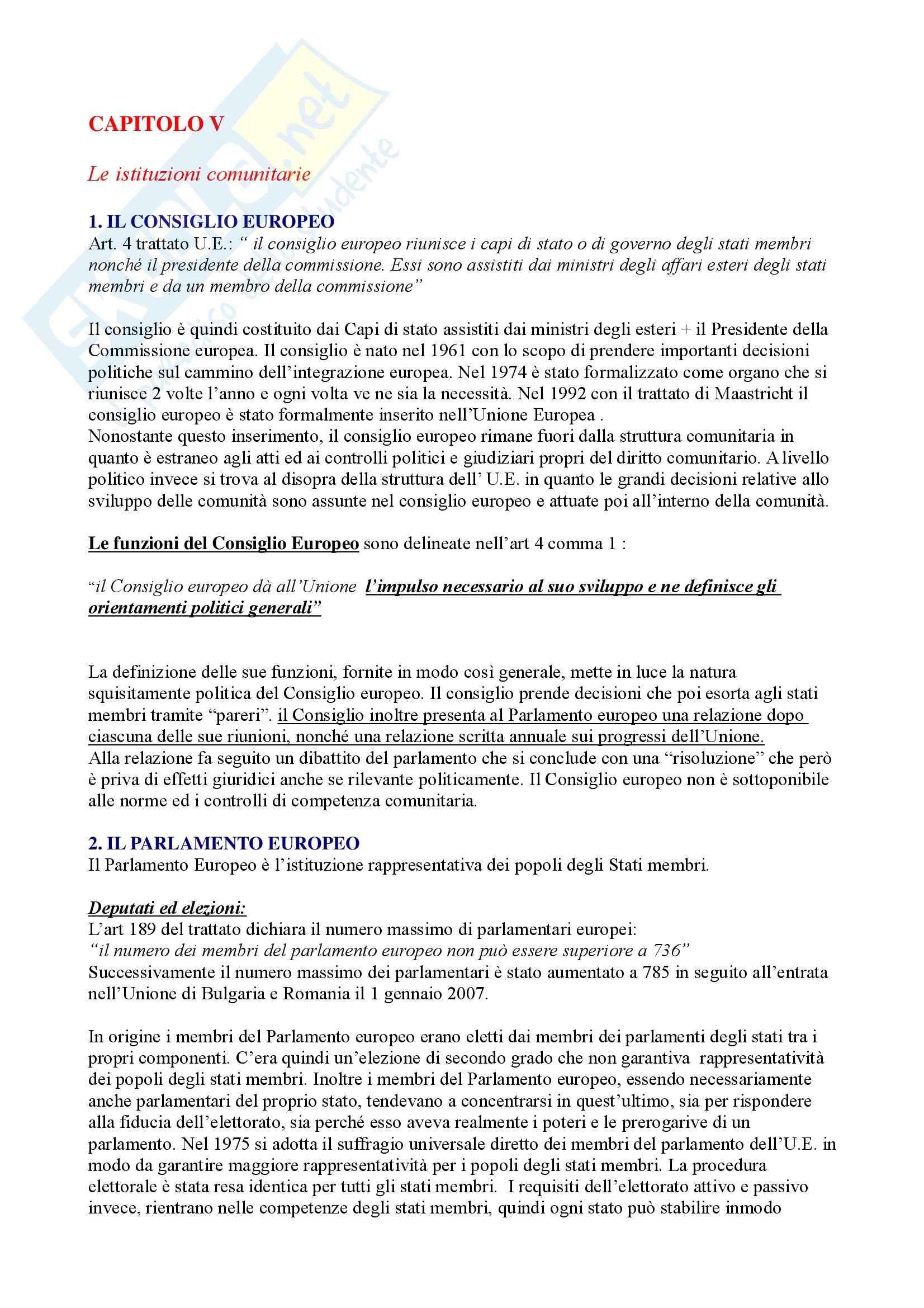 Riassunto esame Diritto dell'Unione Europea, prof. Caggiano, libro consigliato Istituzioni di Diritto dell'Unione Europea, Villani