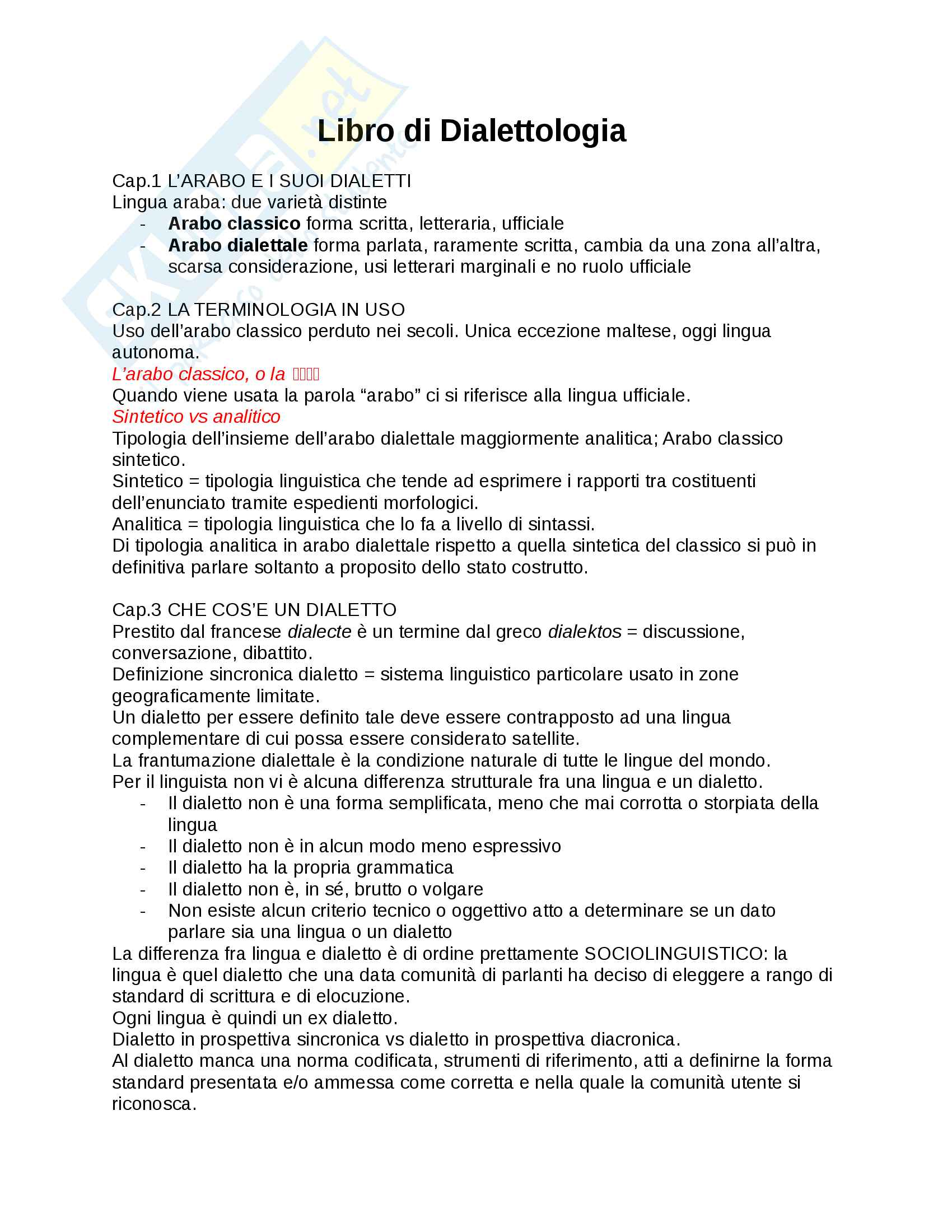 Riassunto esame Dialettologia, prof. Bettega, libro consigliato Dialettologia araba, Olivier Durand