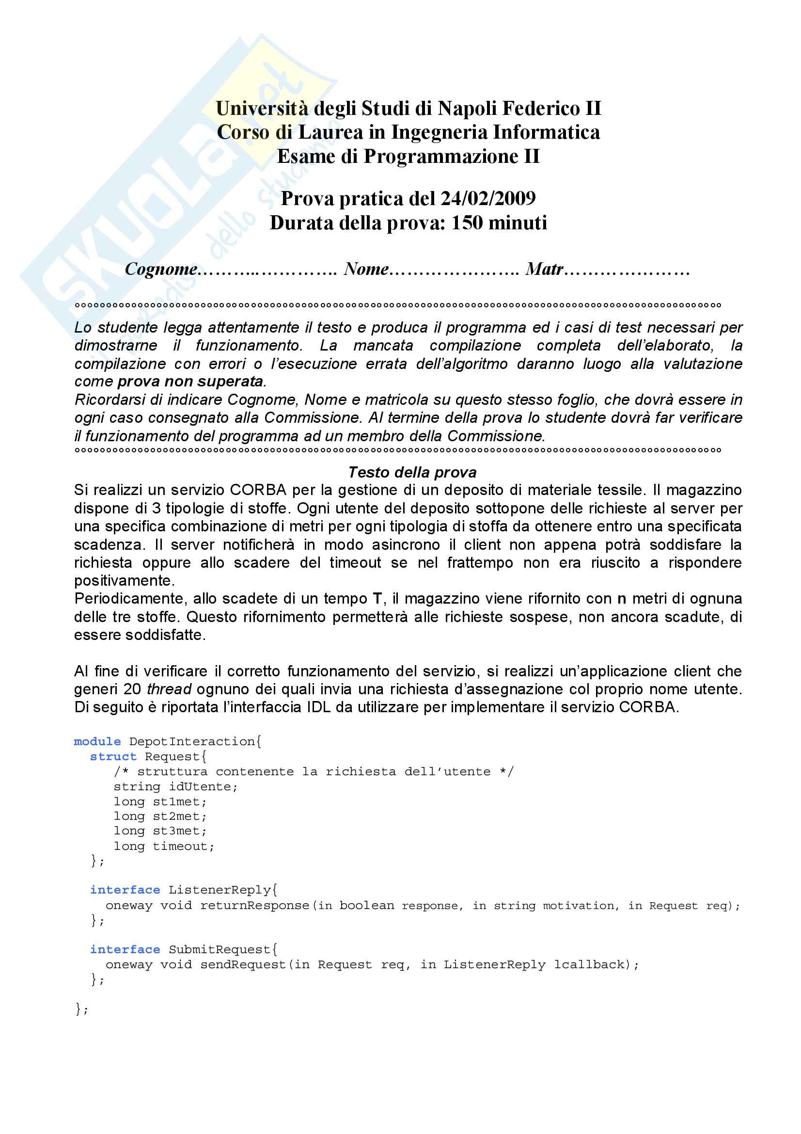 Programmazione 2 - Esercizi