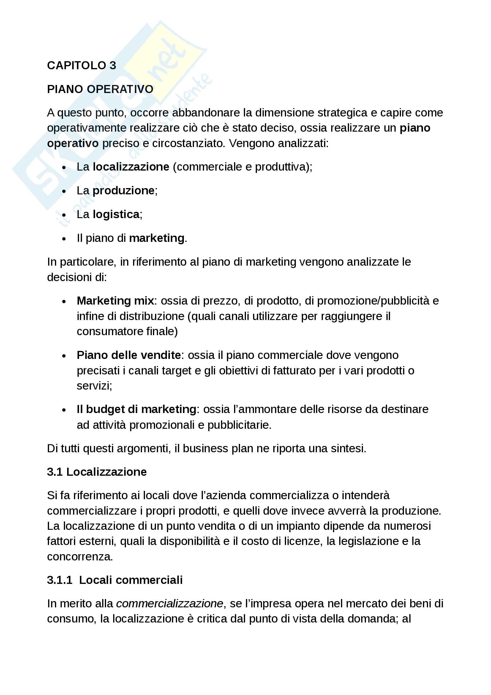 Piano operativo del business plan
