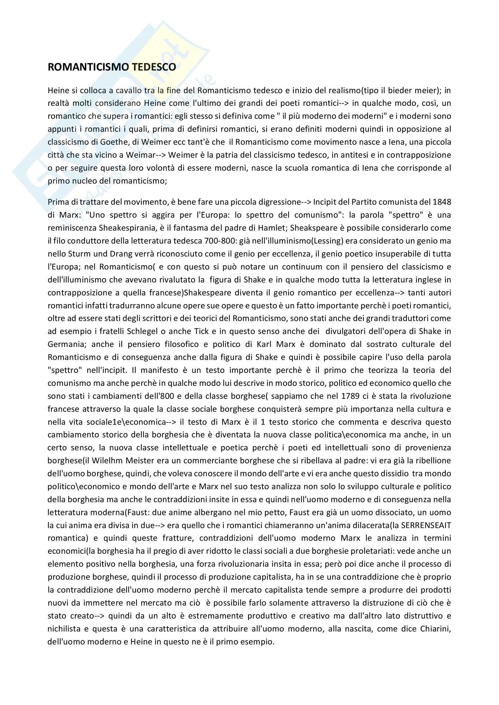 Appunti su Heine - Romanticismo