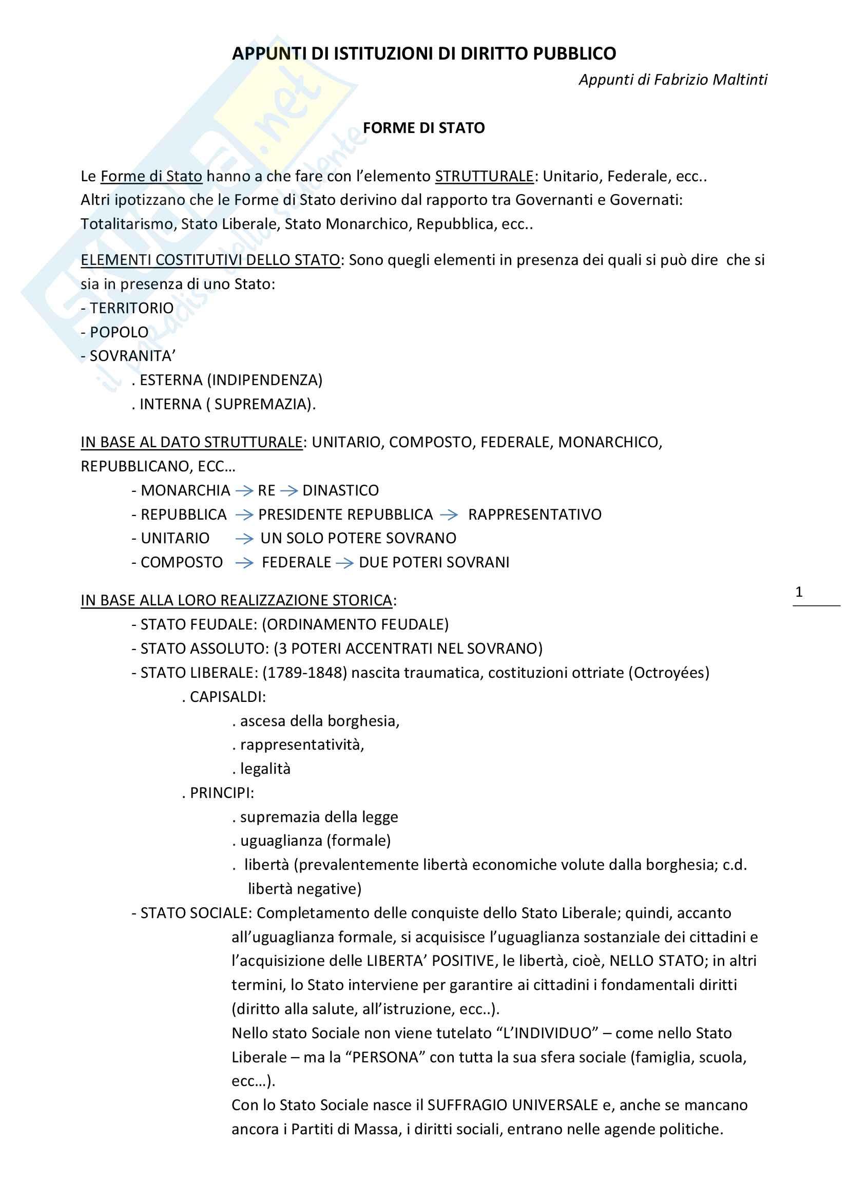 Appunti di Istituzioni di diritto pubblico