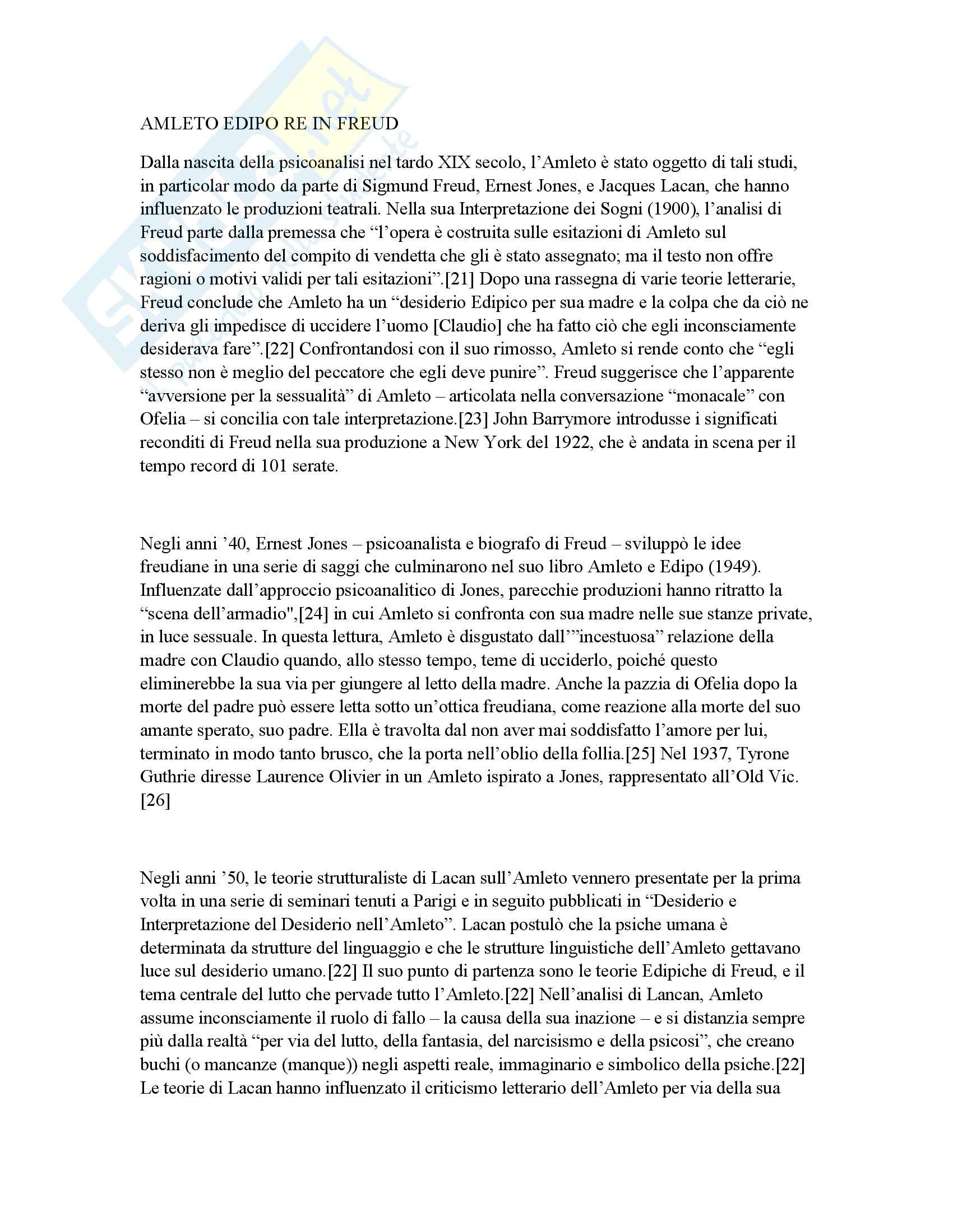 Psicologia clinica - Amleto e Freud - Appunti