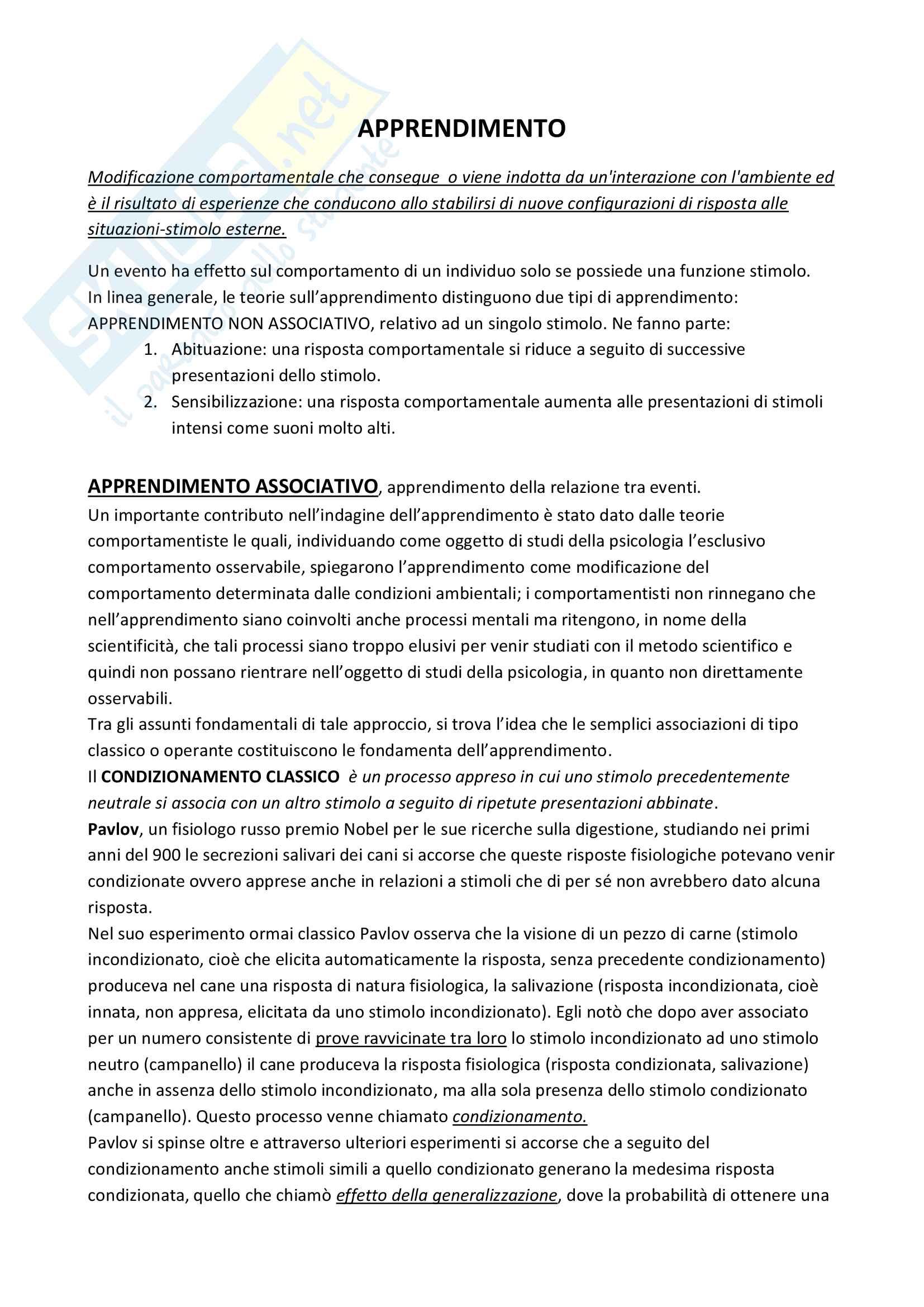 Psicologia generale - apprendimento, attenzione, percezione, memoria Pag. 2