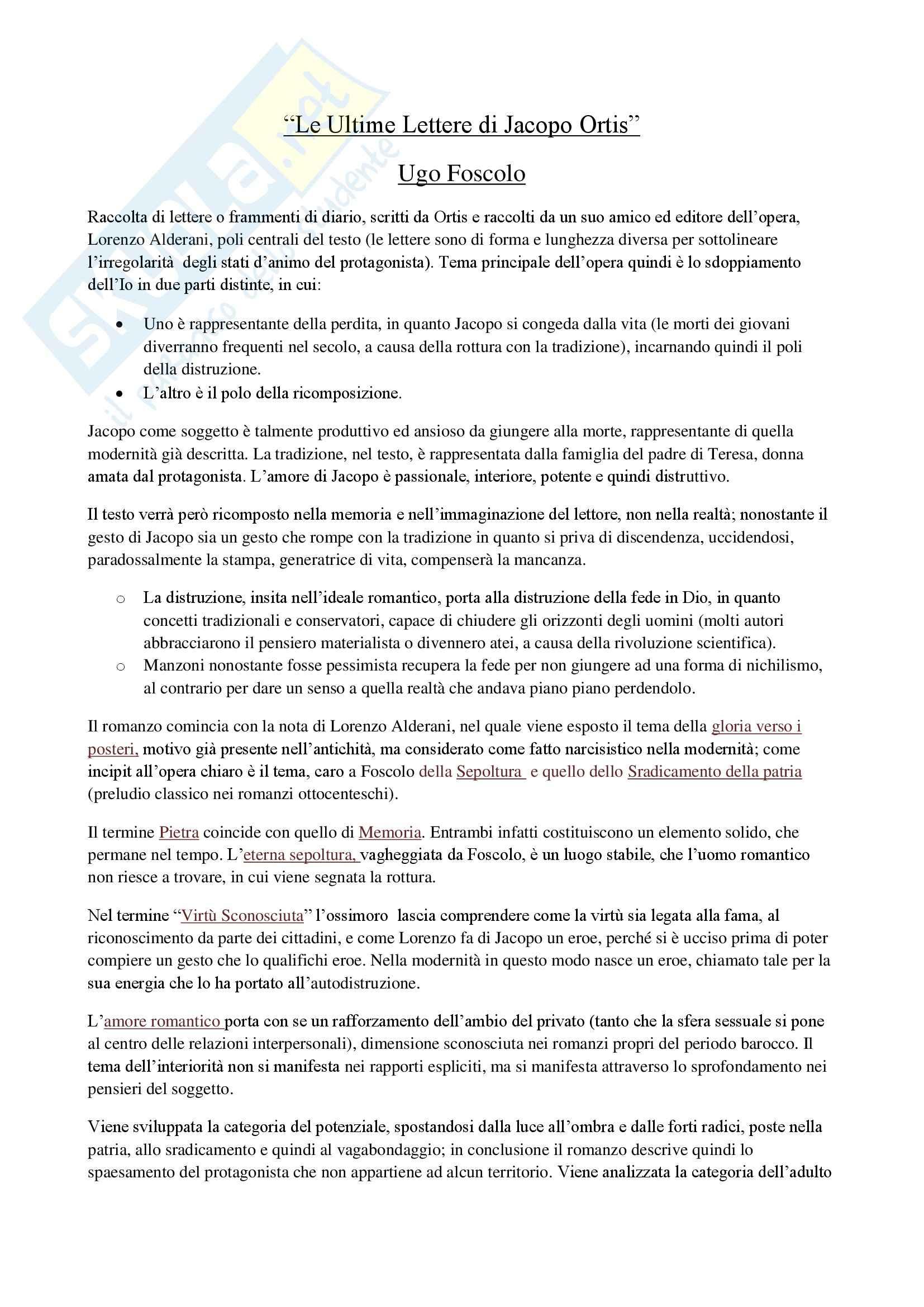 Letteratura italiana contemporanea - Le Ultime Lettere di Jacopo Ortis